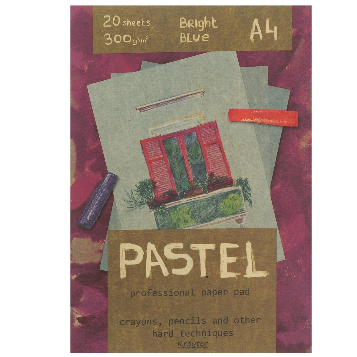 Альбом для пастели Kroyter, 20 листов, формат А406500Альбом Kroyter используется для рисования пастелью, мелками, углем. После грунтовки можно использовать для акриловых и масляных красок. Внутренний блок состоит из 20 листов картона голубого цвета. Крепление блока - склейка, выполненная по технологии, позволяющей изымать листы из блока без его разрушения. Твердая подложка позволяет использовать альбом вне класса или дома. Формат листов - А4. Плотность: 300 г/м2.