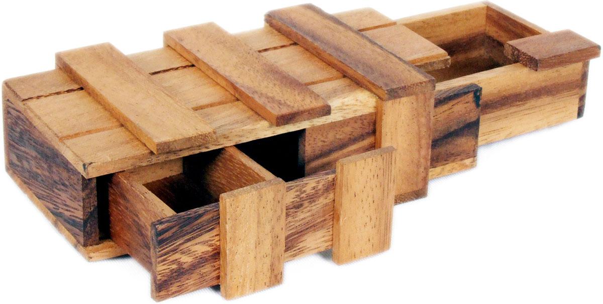 Dilemma Головоломка Двойной Волшебный ящик 14х8,5х4,5 смIQ902CГоловоломка Dilemma Двойной Волшебный ящик, выполненная из дерева, станет отличным подарком всем любителям головоломок! На вид этот ящик прост, но здесь есть подвох. Попробуйте открыть ящик - это совсем не просто. Получилось? Попробуйте закрыть. Слишком сложно? Тогда вы можете воспользоваться предложенным решением в качестве подсказки. Игра рассчитана на одного игрока. Головоломка Dilemma Двойной Волшебный ящик стимулирует логику, пространственное мышление и мелкую моторику рук.