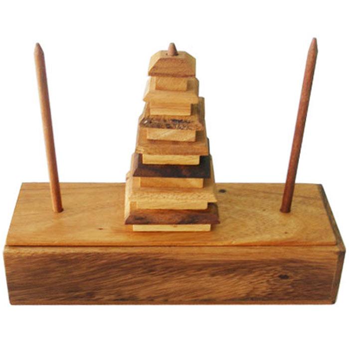 Dilemma Головоломка Ханойская башня 2 240х90х55 смIQ302AГоловоломка Dilemma Ханойская башня 2, выполненная из дерева, станет отличным подарком всем любителям головоломок! В храме города Бенарес, в Индии, на высокий столб были нанизаны 64 диска из чистого золота. Круглые диски отличались размером и были уложены снизу вверх по порядку - от большего к меньшему. Несколько монахов должны были перенести эту башню на новое место внутри храма. Делая это, они должны были соблюдать священные правила. Диски можно перекладывать только в три отмеченных места в храме. Первое место - там, где башня была до того, как они начали работу. Второе место - конечный пункт, где должны оказаться диски. Третье место находится между первым и вторым. Диски такие тяжелые и ценные, что есть два правила. Первое заключается в том, что за один раз можно переносить только один диск. Второе правило: больший диск никогда не должен оказываться на меньшем, но на больший диск можно положить любой из дисков, если он меньше него. Когда монахи закончат работу,...