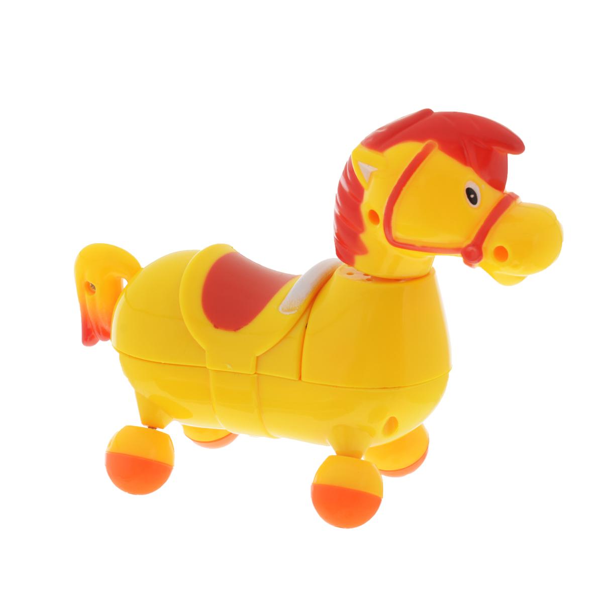 Развивающая игрушка Mommy Love Веселая лошадка, цвет: желтый, красный209_желтая лошадкаРазвивающая игрушка Mommy Love Веселая лошадка приведет в восторг вашего малыша. Игрушка выполнена из высококачественного и безопасного пластика в виде очаровательной лошадки. При включении игрушка начинает двигаться вперед и при этом звучит веселая мелодия. Ножки лошадки прокручиваются со звуком трещотки. Голова и хвостик лошадки подвижны. За такой игрушкой ребенок с удовольствием будет двигаться, становясь более ловкими, сильными и быстрыми. А веселая мелодия будет служить отличным аккомпанементом в их подвижных играх. Порадуйте ребенка таким замечательным подарком! Рекомендуется докупить 2 батарейки напряжением 1,5V типа АА (товар комплектуется демонстрационными).