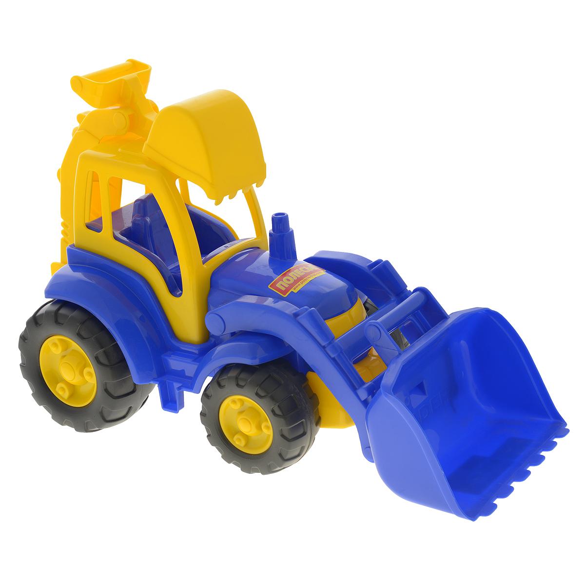 Полесье Трактор Чемпион цвет синий желтый513Трактор Полесье Чемпион, выполненный из яркого и прочного материала, отлично подойдет ребенку для различных игр. Трактор оснащен большим ковшом, с помощью которого можно перемещать материалы (камушки, песок), убирать строительный мусор или расчищать площадку. Сзади трактора находится стрела со вторым ковшом, которая поднимается, опускается и поворачивается, что поможет ребенку в его работах. В просторную незастекленную кабину машины легко поместится минифигурка водителя ( в комплект не входит). Широкие колеса трактора со свободным ходом обеспечивают игрушке устойчивость и хорошую проходимость. С этим реалистично выполненным трактором ваш малыш часами будет занят игрой!