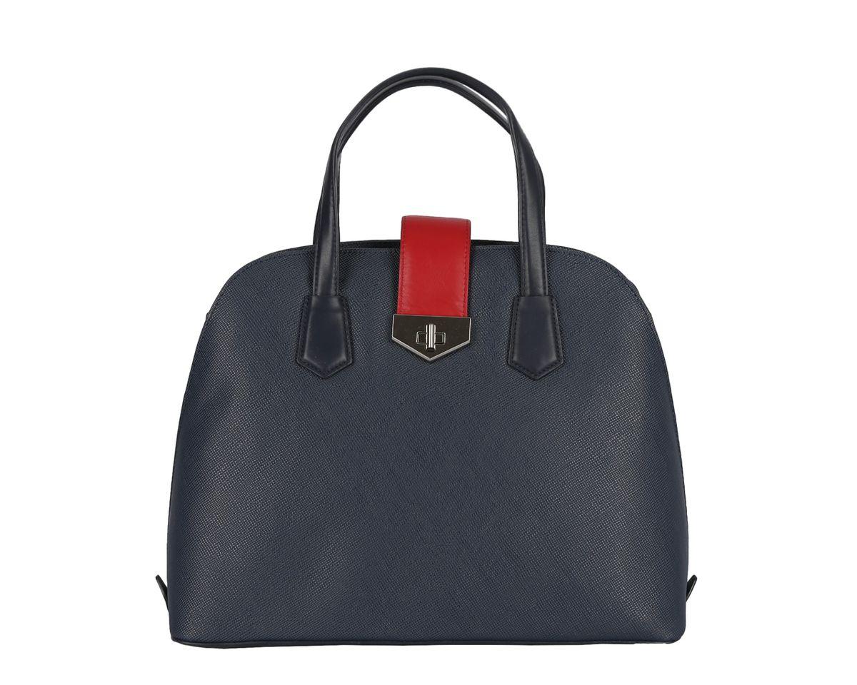 Сумка женская Leo Ventoni, цвет: синий, красный. 2300415223004152 blueСтильная женская сумка Leo Ventoni выполнена из натуральной кожи с зернистой фактурой. Сумка имеет одно основное отделение, которое закрывается на молнию и дополнительно на хлястик с замком-вертушкой. Внутри предусмотрен вшитый карман на молнии, карман-средник на молнии и два дополнительных накладных кармана для телефона и мелочей. На тыльной стороне сумки размещен вшитый карман на молнии. Сумка оснащена двумя практичными ручками, оформленными металлической фурнитурой . Дно сумки дополнено металлическими ножками, которые продлят срок службы изделия. Такая сумка прекрасно дополнит ваш образ и подчеркнет стиль.