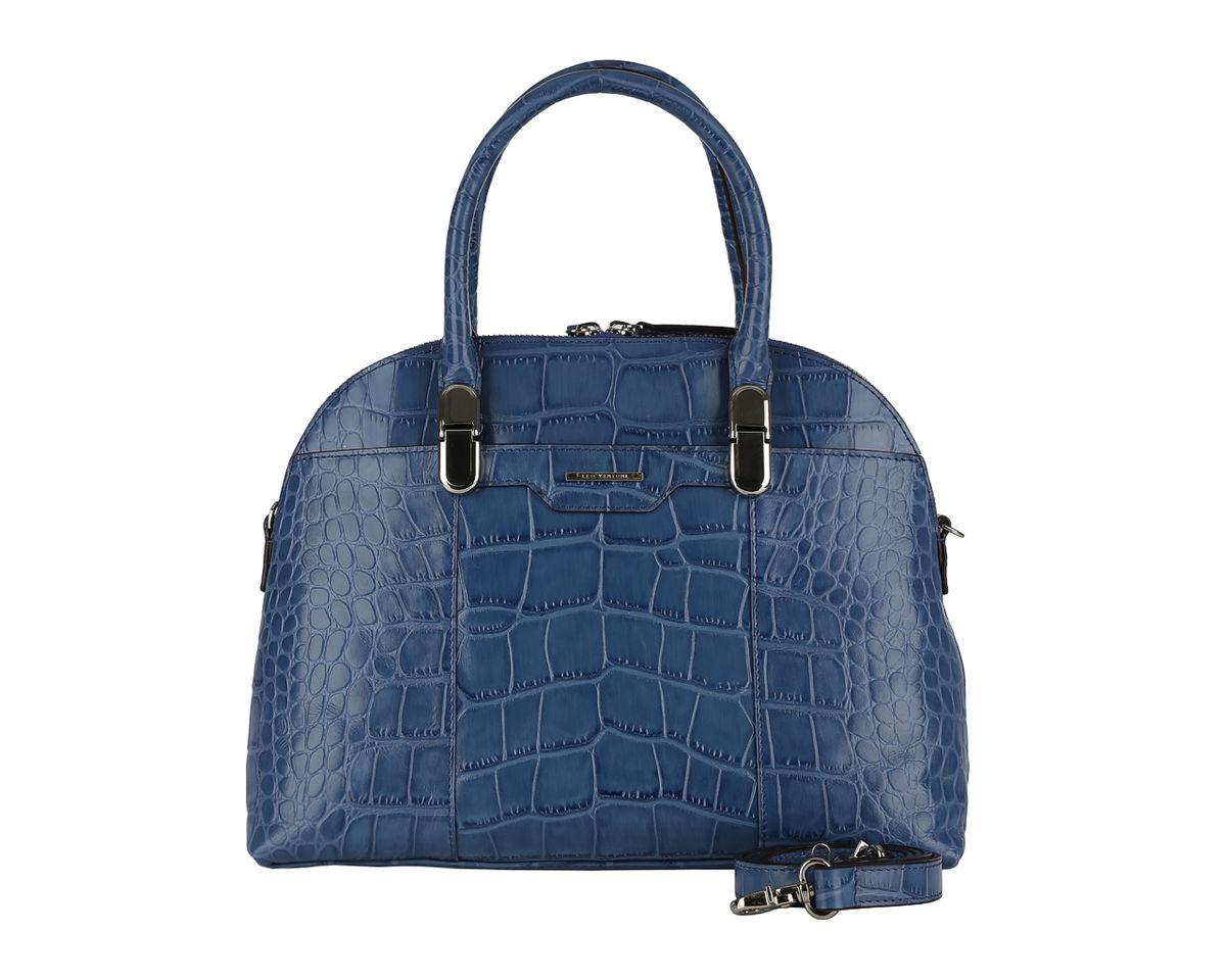 Сумка женская Leo Ventoni, цвет: синий. 2300420723004207 blueСтильная женская сумка Leo Ventoni выполнена из натуральной кожи с тиснением под рептилию и текстиля. Изделие оформлено металлической фурнитурой с названием бренда. Сумка имеет одно отделение, которое застегивается на молнию. Внутри предусмотрено четыре накладных кармана, один из которых застегивается на молнию, другой на кнопку, вшитый карман на молнии. Снаружи, с лицевой стороны размещен накладной карман на магнитной кнопке. С тыльной стороны расположен вшитый карман на молнии. Сумка оснащена практичными ручками, которые оформлены металлическими элементами и позволят носить изделие, как в руках, так и на плече. Дно оснащено металлическими ножками. Такая сумка прекрасно дополнит ваш образ и подчеркнет изысканный стиль.