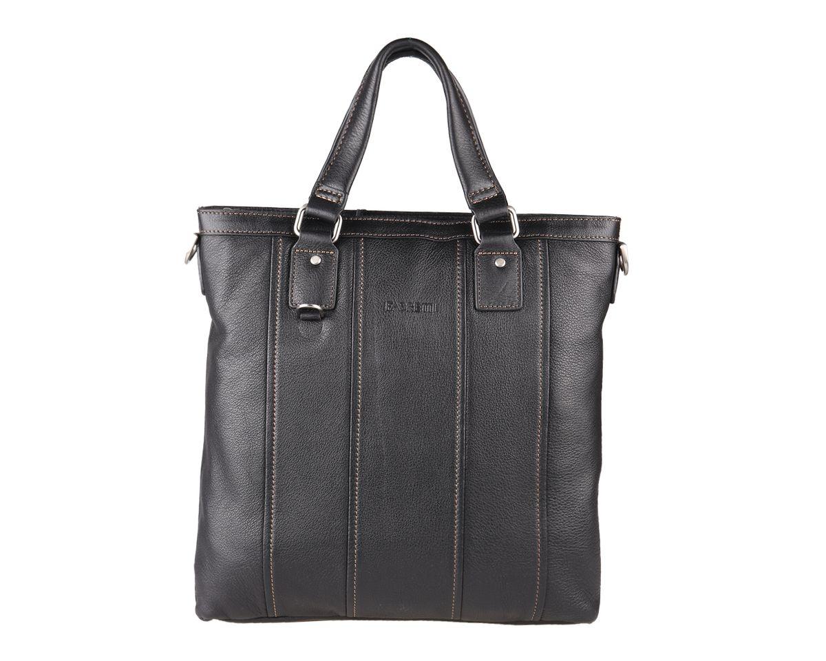 Сумка мужская Fabretti, цвет: черный. 5513FAB5513FAB-blackСтильная мужская сумка Fabretti изготовлена из натуральной кожи. Модель имеет одно основное отделение, которое закрывается на застежку-молнию. Внутри имеется два накладных открытых кармашка для телефона и мелочей, два держателя для авторучки, мягкий карман для планшета или небольшого ноутбука, который закрывается хлястиком на липучку, и прорезной карман на застежке-молнии. На задней стенке имеется прорезной карман на застежке-молнии. Размеры сумки позволяют вмещать документы формата А4. Изделие оснащено двумя удобными ручками. В комплект входит текстильный плечевой ремень, который регулируется по длине. Сумка упакована в текстильный фирменный чехол. Сумка Fabretti - идеальный выбор успешного делового мужчины.
