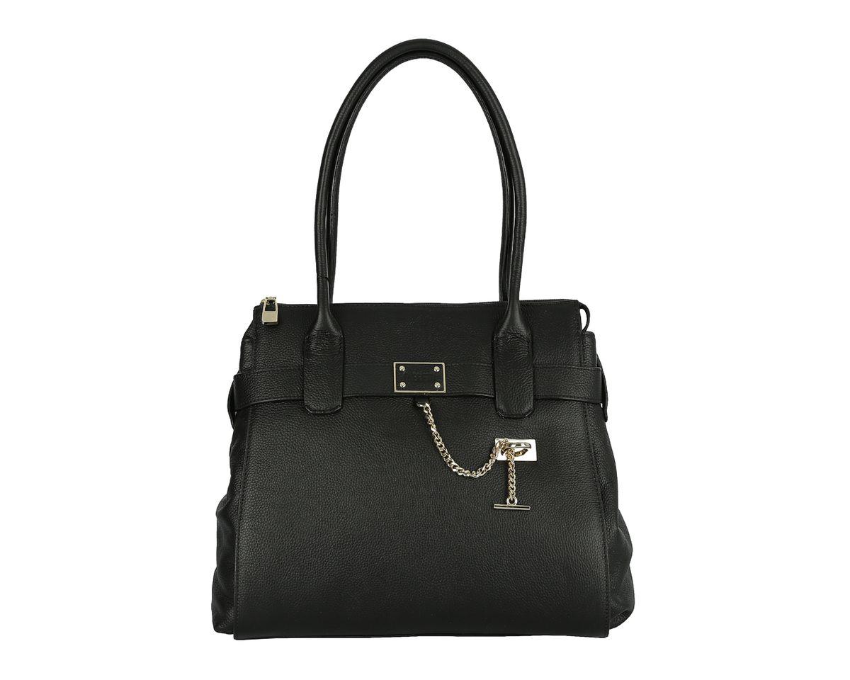 Сумка женская Fabretti, цвет: черный. F4668F4668Стильная женская сумка Fabretti изготовлена из натуральной кожи с зернистым тиснением. Лицевая сторона декорирована металлической фурнитурой. Изделие закрывается на застежку-молнию. Внутреннее отделение разделено средником на молнии, содержит два накладных кармана для мобильного телефона и мелочей и один вшитый карман на молнии. Тыльную сторону дополняет вшитый карман на молнии. Сумка оснащена практичными ручками, которые позволят носить изделие как в руках, так и на плече. Дно дополнено металлическими ножками. Изделие упаковано в фирменный чехол-сумку. Выглядеть стильно и оригинально с аксессуарами от Fabretti совсем несложно, так как продукция этого бренда сочетает в себе не только удобство, но и современный дизайн.