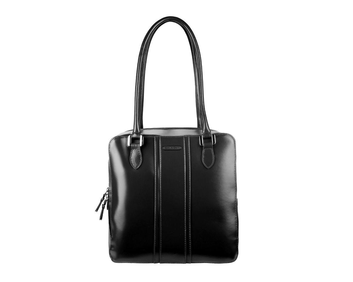 Сумка женская Galaday, цвет: черный. GD3192GD3192Стильная женская сумка Galaday изготовлена из гладкой натуральной кожи. Сумка оснащена двумя удобными ручками и съемным плечевым ремнем. Высота ручек позволяет носить сумку на плече. Изделие закрывается на застежку-молнию. Лицевая сторона оформлена кожаными накладками и металлическим элементом с названием бренда. Внутреннее отделение содержит два кармана на застежках-молниях, которые образуют открытый карман на застежке-кнопке, и два накладных кармашка для мелочей и мобильного телефона. Тыльную сторону дополняет вшитый карман на застежке- молнии. Модель держит форму. Фурнитура серебряного цвета. Дно защищено от повреждений металлическими ножками. Изделие упаковано в фирменный чехол. Galaday - роскошный дизайн, практичность и современный стиль.