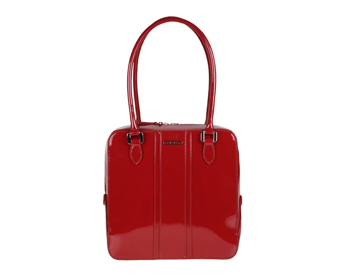 Сумка женская Galaday, цвет: бордовый. GD3192GD3192Лакированная женская сумка Galaday изготовлена из гладкой натуральной кожи. Сумка оснащена двумя удобными ручками и съемным плечевым ремнем. Высота ручек позволяет носить сумку на плече. Изделие закрывается на застежку-молнию. Лицевая сторона оформлена кожаными накладками и металлическим элементом с названием бренда. Внутреннее отделение содержит два кармана на застежках-молниях, которые образуют открытый карман на застежке-кнопке, и два накладных кармашка для мелочей и мобильного телефона. Тыльную сторону дополняет вшитый карман на застежке- молнии. Модель держит форму. Фурнитура серебряного цвета. Дно защищено от повреждений металлическими ножками. Изделие упаковано в фирменный чехол. Galaday - роскошный дизайн, практичность и современный стиль.