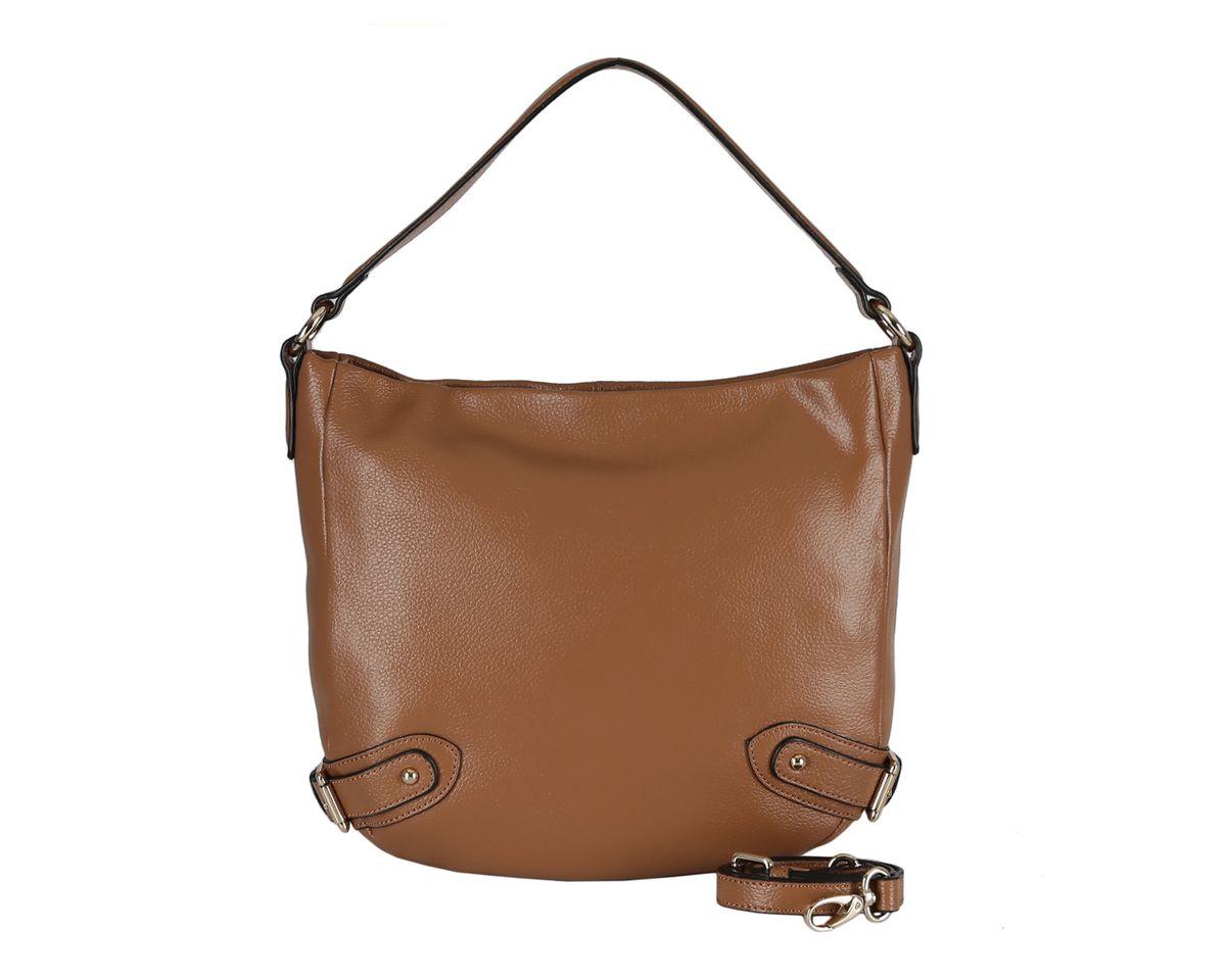 Сумка женская Fabretti, цвет: светло-коричневый. N727CN727CСтильная женская сумка Fabretti изготовлена из натуральной кожи и оформлена по бокам декоративными ремешками. Удобная ручка прочно крепится к корпусу изделия и позволяет носить сумку как на сгибе руки, так и на плече. Изделие закрывается на застежку-молнию. Внутреннее отделение содержит 2 накладных кармана для мобильного телефона и мелочей и 2 кармана на застежках-молниях. Тыльную сторону дополняет врезной карман на застежке-молнии. В комплект входит съемный плечевой ремень регулируемой длины. Размеры вмещают формат А4. Фурнитура золотого цвета. Изделие упаковано в фирменный чехол-сумку. Выглядеть стильно и оригинально с аксессуарами от Fabretti совсем несложно, так как продукция этого бренда сочетает в себе не только удобство, но и современный дизайн.