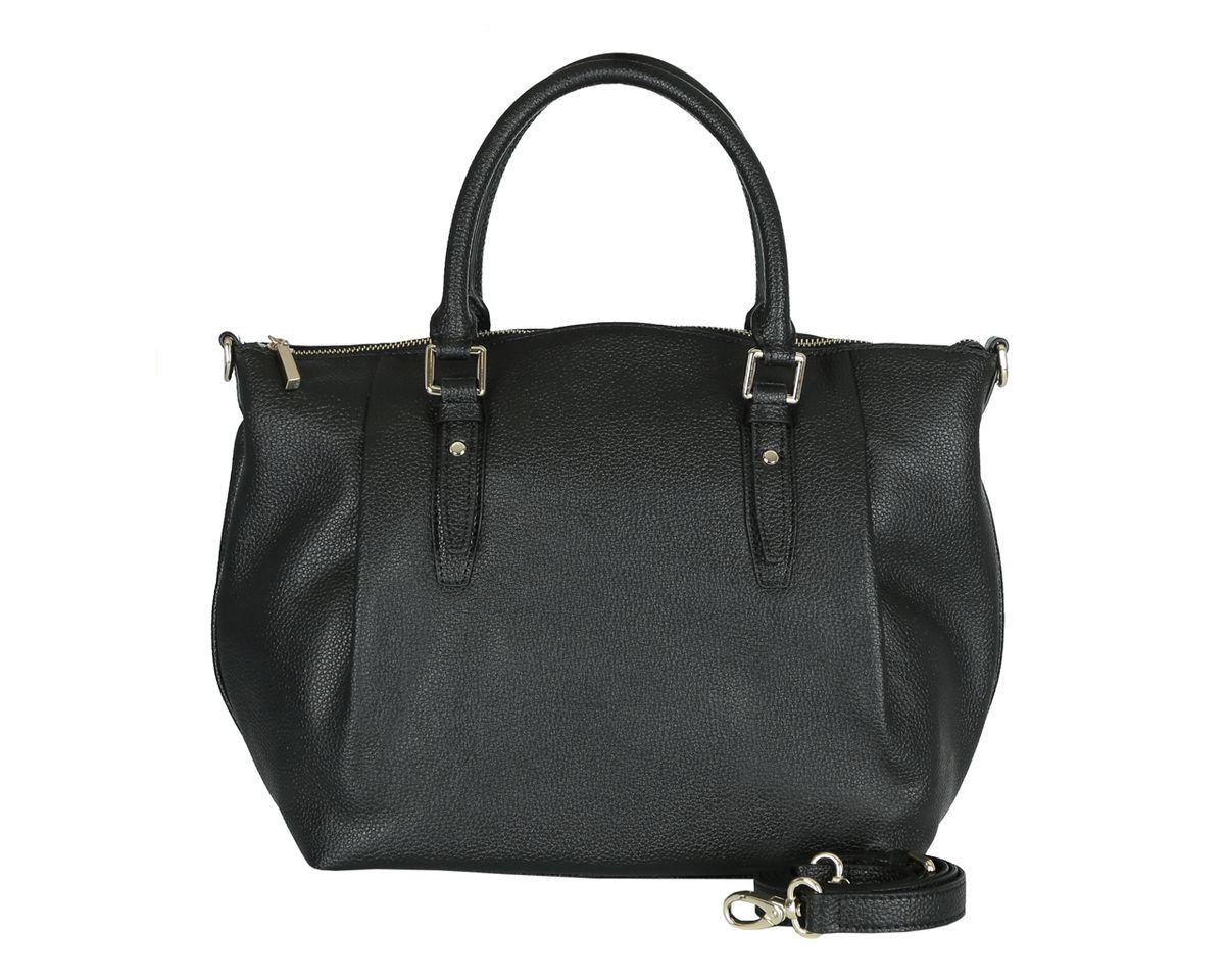 Сумка женская Fabretti, цвет: черный. S1347S1347Стильная женская сумка Fabretti изготовлена из натуральной кожи и оформлена фактурным тиснением. Сумка оснащена двумя удобными ручками и съемным плечевым ремнем регулируемой длины. Изделие закрывается на застежку- молнию. Внутреннее отделение разделено средником на застежке-молнии и содержит 2 накладных кармана для мобильного телефона и мелочей и 2 кармана на застежках-молниях. На тыльной стороне расположен врезной плоский карман без застежки. Размеры вмещают формат А4. Фурнитура золотого цвета. Дно защищено от повреждений металлическими ножками. Изделие упаковано в фирменный чехол. Выглядеть стильно и оригинально с аксессуарами от Fabretti совсем несложно, так как продукция этого бренда сочетает в себе не только удобство, но и современный дизайн.