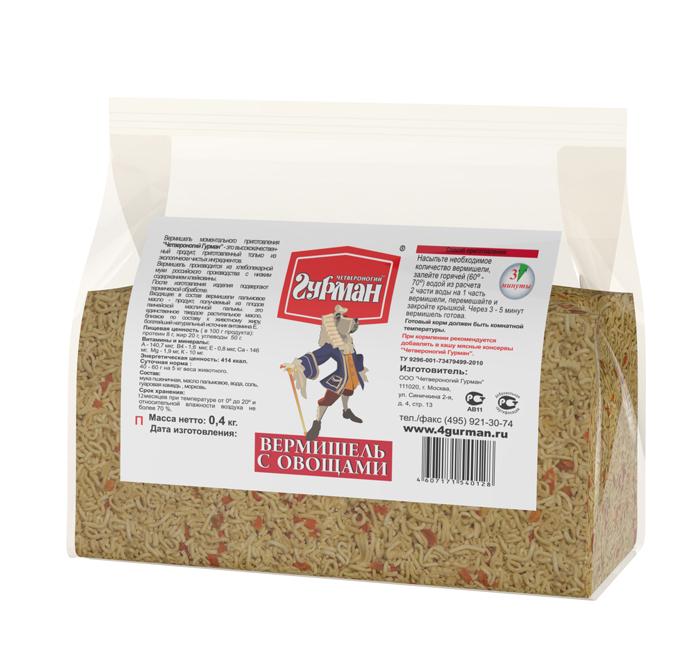 Вермишель моментального приготовления для собак Четвероногий гурман Вермишель с овощами, пакет 0,4 кг