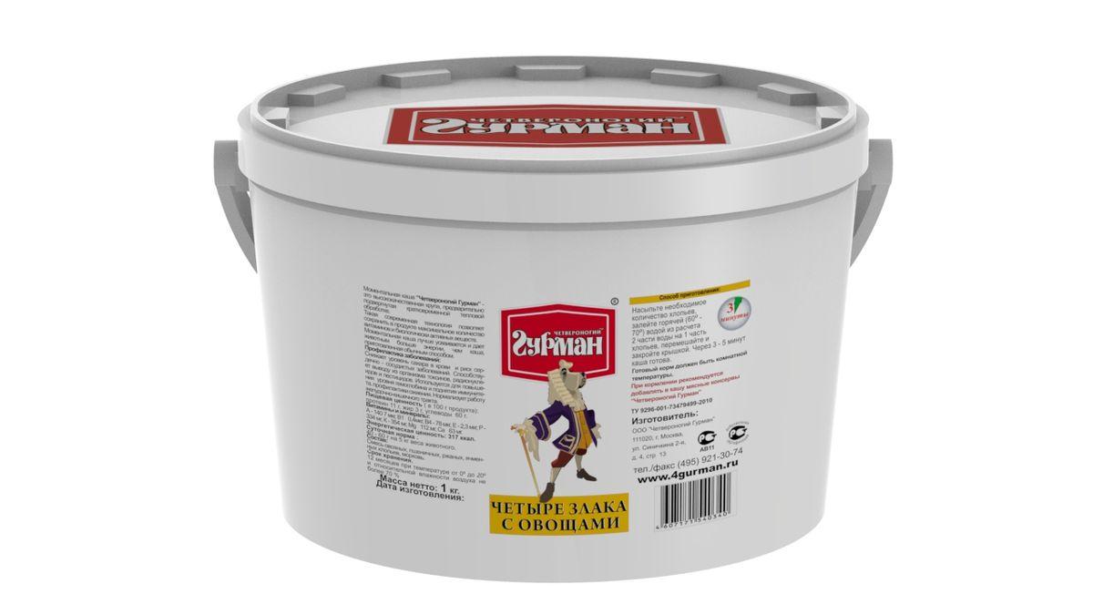 Хлопья моментального приготовления для собак Четвероногий гурман 4 злака с овощами, ведро 1 кг102110004Хлопья моментального приготовления для собак с добавлением моркови. Крупы — необходимый элемент полноценного рациона собаки. Специальная технология производства позволяет сохранить максимум питательной ценности в готовых хлопьях. Сырьё в процессе производства подвергается кратковременному воздействию высоким давлением и температурой. Для приготовления хлопья необходимо залить горячей (не кипящей) водой и подождать, пока блюдо остынет до комнатной температуры. Полезные свойства хлопьев 4 злака: Снижают уровень сахара в крови и риск сердечно-сосудистых заболеваний. Способствуют выводу из организма токсинов, радионуклидов и пестицидов. Используются для укрепления иммунитета, профилактики ожирения. Нормализуют работу желудочно-кишечного тракта. Хлопья богаты белками, углеводами, калием, фосфором, цинком и витаминами группы B. Состав: хлопья овсяные, пшеничные, ржаные, ячменные, сушёная морковь. Вес: 1 кг.