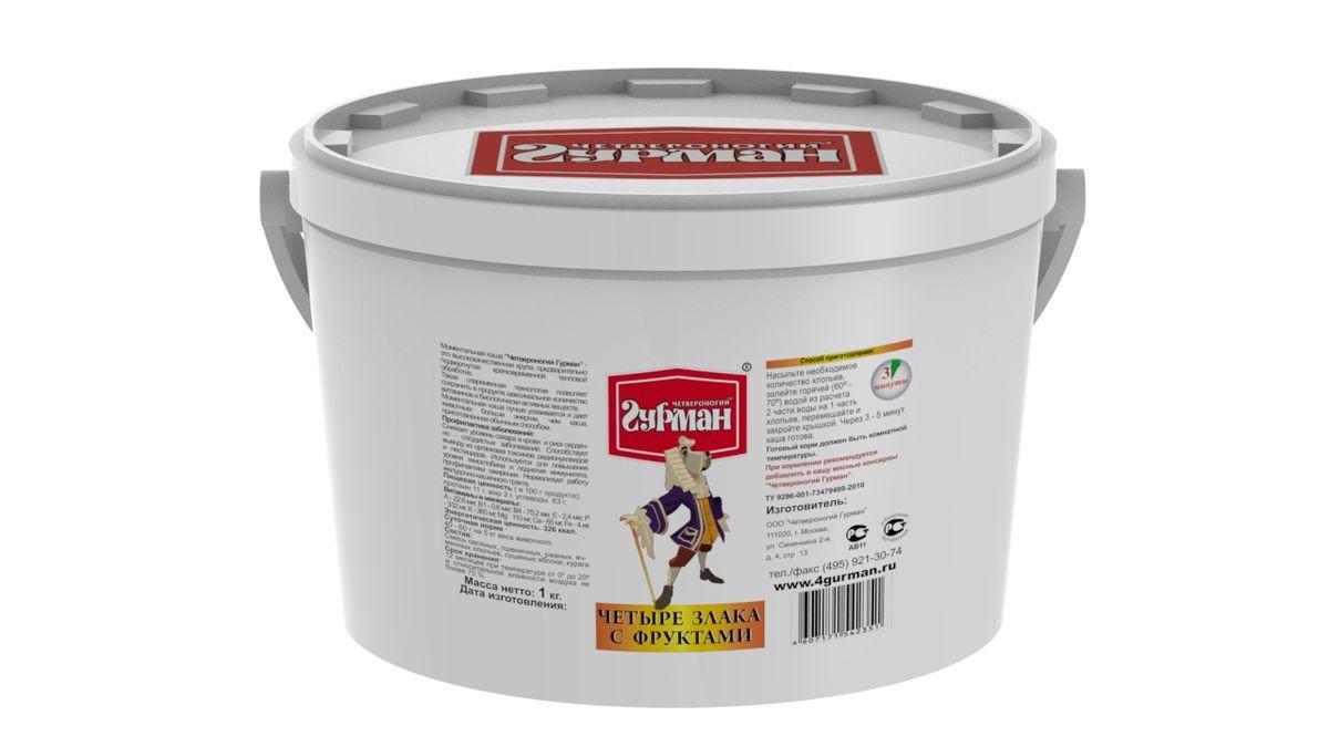 Хлопья моментального приготовления для собак 4 злака с фруктами, ведро 1 кг102110005Хлопья моментального приготовления для собак с добавлением яблок и абрикосов. Крупы — необходимый элемент полноценного рациона собаки. Специальная технология производства позволяет сохранить максимум питательной ценности в готовых хлопьях. Сырьё в процессе производства подвергается кратковременному воздействию высоким давлением и температурой. Для приготовления хлопья необходимо залить горячей (не кипящей) водой и подождать, пока блюдо остынет до комнатной температуры. Полезные свойства хлопьев 4 злака: Снижают уровень сахара в крови и риск сердечно-сосудистых заболеваний. Способствуют выводу из организма токсинов, радионуклидов и пестицидов. Используются для укрепления иммунитета, профилактики ожирения. Нормализуют работу желудочно-кишечного тракта. Хлопья богаты белками, углеводами, калием, фосфором, цинком и витаминами группы B. Состав: хлопья овсяные, пшеничные, ржаные, ячменные, сушёные яблоки, абрикосы. Вес: 1 кг.
