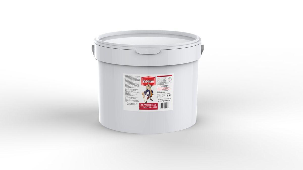 Вермишель моментального приготовления для собак Четвероногий гурман Вермишель с овощами, ведро 4 кг102140005Вермишель моментального приготовления для собак с добавлением моркови. Продукт, богатый углеводами. Вермишель формируется из хлебопекарной муки с низким содержанием клейковины, затем подвергается термической обработке. Для приготовления хлопья необходимо залить горячей (не кипящей) водой и подождать, пока блюдо остынет до комнатной температуры. Полезные свойства вермишели: В состав входит пальмовое масло. Его получают из плодов гвинейской масличной пальмы, — это единственное твёрдое растительное масло, близкое по составу к животному жиру. Богатейший источник витамина E, важного для профилактики заболеваний глаз, нервной системы, мышц и кожи. Благодаря высокой калорийности вермишель используется для обеспечения набора веса животным. Состав: мука пшеничная, масло пальмовое, вода, соль, гуаровая камедь, сушёная морковь. Вес: 4 кг.