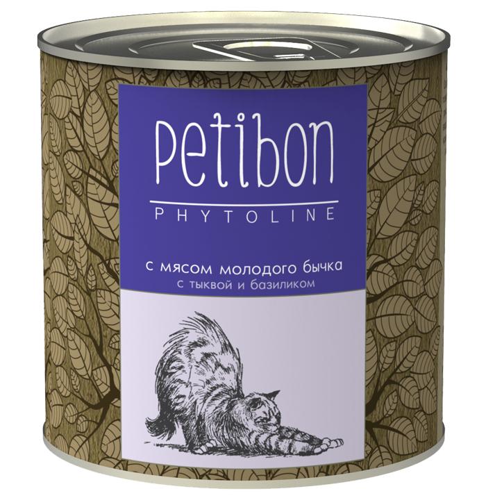 Консервы для кошек Petibon Phytoline с мясом молодого бычка, 240 г313241002Petibon Phytoline — влажные мясные корма для кошек с добавлением фруктов, ягод, овощей, злаков и целебных трав. В составе каждого вида содержится в среднем 15 фитокомпонентов, их общая доля не превышает 3%. Рецептура Phytoline уникальна, что подтверждено патентом. За счёт использования в составе растительных ингредиентов корма имеют профилактическую функциональную направленность. Состав: субпродукты говяжьи (рубец, сердце, печень, губы, почки), телятина, масло растительное, плазма крови, рис, овсяные отруби, тыква, лук, морковь, рыбий жир, бурые водоросли, клюква, черника, семя льна, базилик, душица, крапива, корень солодки, элеутерококк, пивные дрожжи, таурин, желирующая добавка, вода. Вес: 240 г.