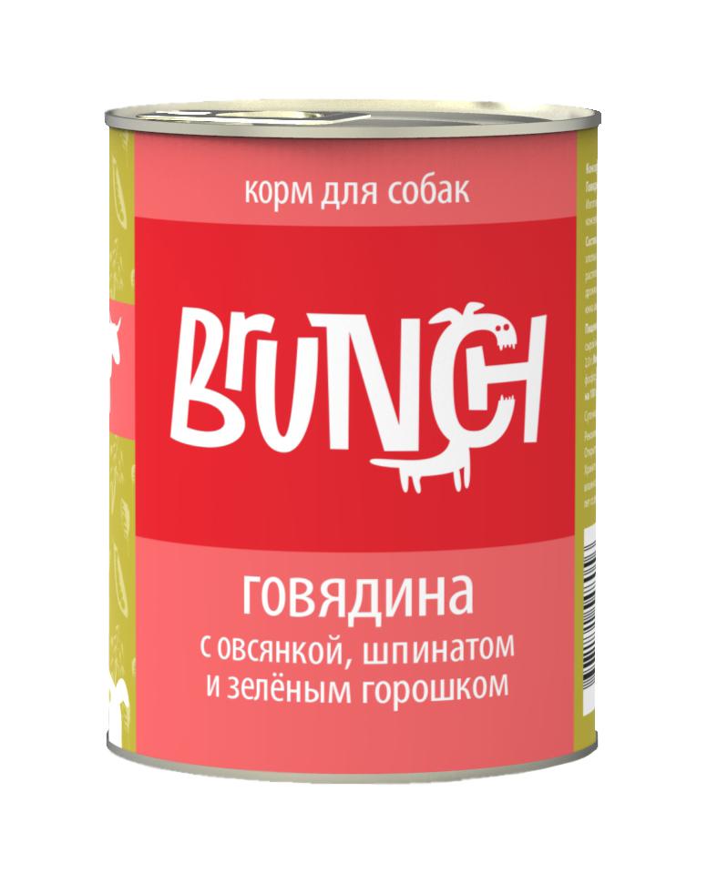 Консервы для собак Brunch Говядина с овсянкой, шпинатом и зеленым горошком, 340 г [randomtext category=