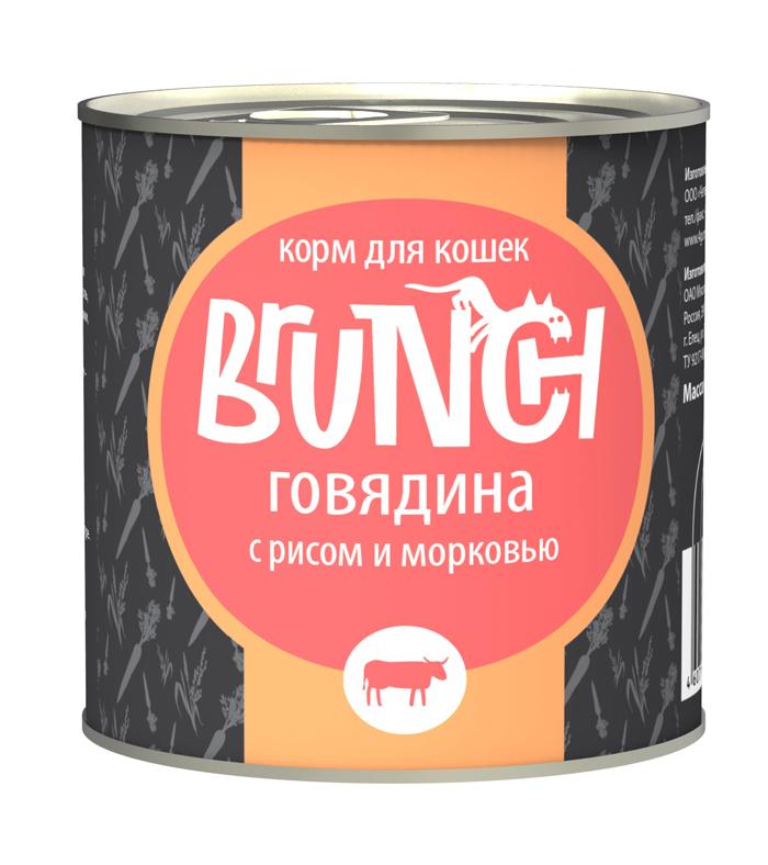 Консервы для кошек Brunch Говядина с рисом и морковью, 240 г [randomtext category=
