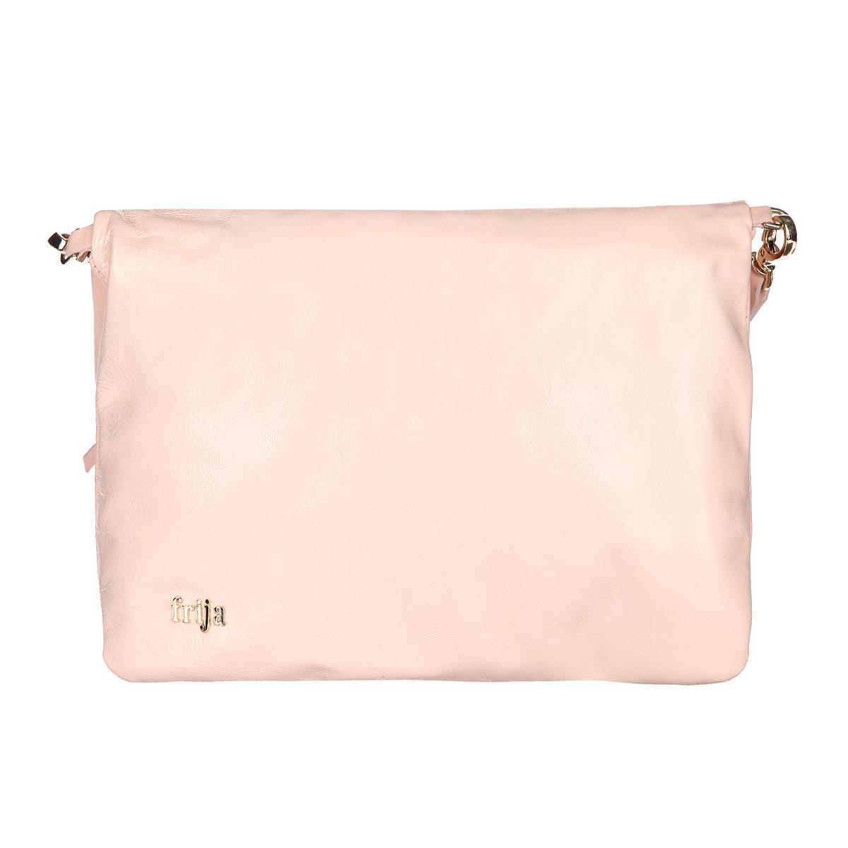 Сумка женская Frija, цвет: розовый. 21-0311-1521-0311-15Стильная женская сумка Frija выполнена из натуральной кожи, оформлена металлическим элементом с названием бренда. Изделие содержит одно главное отделение, закрывающееся на застежку-молнию, внутри которого расположен вшитый карман на молнии. Сумка дополнена практичной съемной лямкой, которая позволит носить ее как в руках, так и на плече. Такая сумка прекрасно дополнит ваш образ.