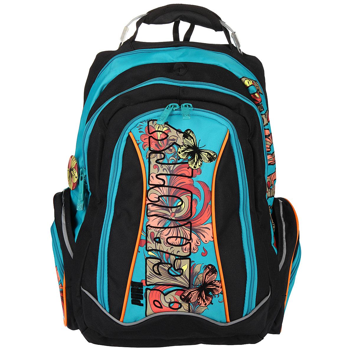 Рюкзак школьный Steiner BEAUTY, цвет: черный, бирюзовый. 12-252-15312-252-153Эргономичный школьный рюкзак с ортопедической спинкой Steiner BEAUTY выполнен из современного пористого материала, отличающегося легкостью, долговечностью и повышенной влагостойкостью. Изделие оформлено изображением бабочек, цветов и логотипа бренда на лицевой стороне. Рюкзак имеет два основных отделения, которые закрываются на молнии. Внутри главного отделения расположены: два накладных кармана-разделителя на липучках, накладной мягкий карман для планшета или ноутбука на резинке с липучкой. Внутри второго отделения размещен органайзер для письменных принадлежностей, состоящий из пяти накладных карманов, один из которых карман-сетка на молнии. По бокам рюкзака размещены четыре дополнительных накладных кармана, два из которых застегиваются на молнии. В спинку рюкзака встроены два накладных кармана на молниях, внутри верхнего кармана находится кармашек для телефона на липучке. Рельеф спинки рюкзака разработан с учетом особенности детского позвоночника. Рюкзак оснащен...