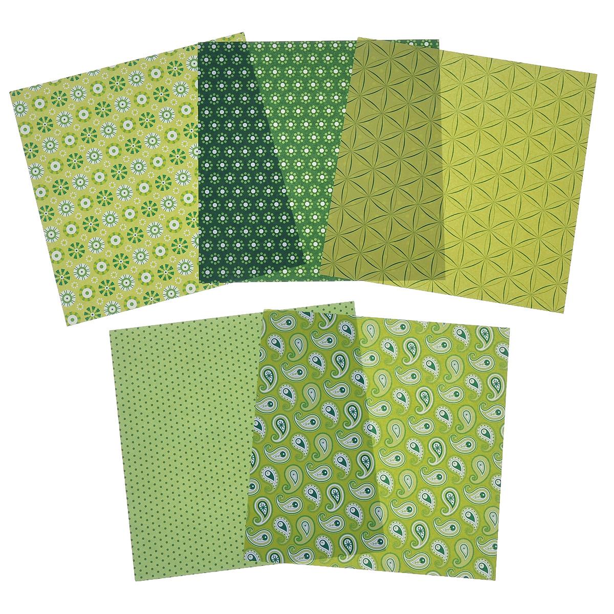 Бумага для оригами Folia, цвет: зеленый, 15 х 15 см, 50 листов