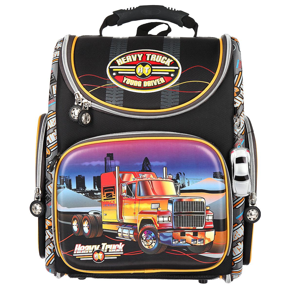 "Ранец школьный Hummingbird ""Heavy Truck"", цвет: черный, серный, желтый. K82"