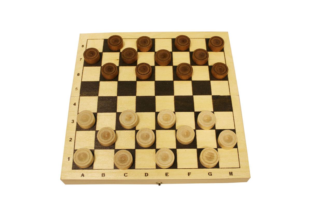 Настольная игра Шашки деревянные в комплекте с доской, размер: 230х115х45УТ-00001161