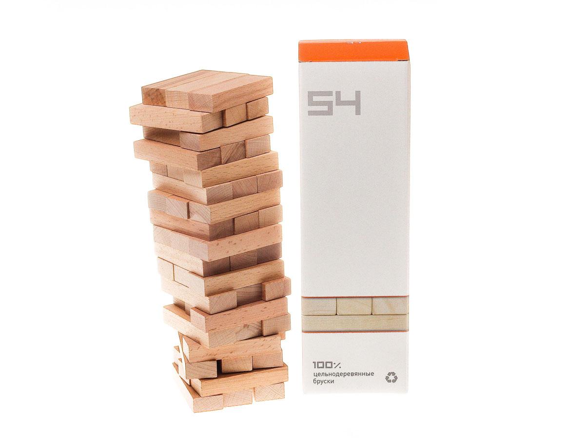 Настольная игра GaGa Башня 54 СтандартУТ-00003088Легендарная игра на ловкость рук, состоящая из 54 цельнодеревянных брусков. «54» — отличный способ провести время в компании детей и взрослых всех возрастов. В этой игре вам предстоит собрать башню из 18 рядов, а потом вытаскивать поочередно по одному бруску и перекладывать их наверх. Тот, в чей ход конструкция рухнула, проигрывает.