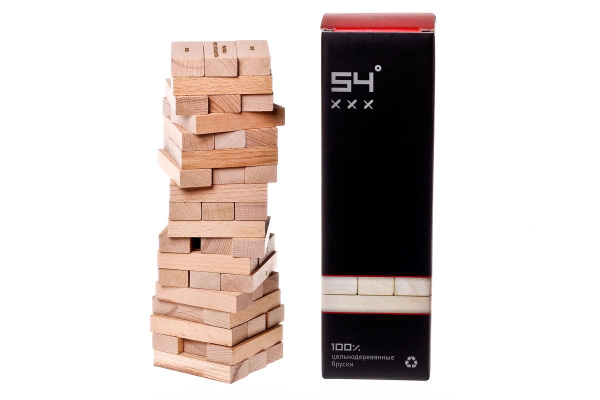 Настольная игра GaGa Башня 54 ххх АлкогольнаяУТ-00003178Разновидность популярной игры Дженга, но с алкогольными заданиями. Отлично подойдёт весёлой компании старше 18 лет. 54 — отличное развлечение для компани, которая хочет незабываемо провести время. Правила настолько просты, что включиться в игру сможет каждый. Приготовьте любимые напитки и соберите башню высотой в 18 рядов, 3 на 3 бруска. В процессе игры участники по очереди вытаскивают по одному бруску и выполняют задания, написанные на них. Затем возвращают вытянутый брусок на верх башни. Проигрывает тот, кто разрушает башню.
