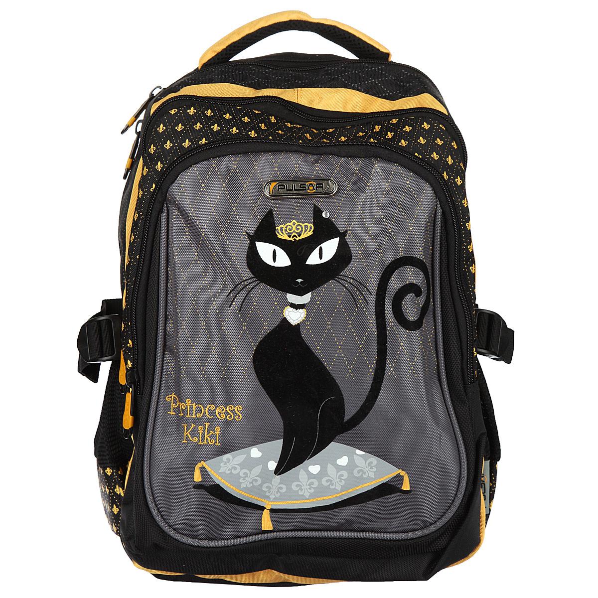 """PULSAR Рюкзак школьный """"Princess Kiki"""", цвет: черный, серый, гречишный. V8049-151"""