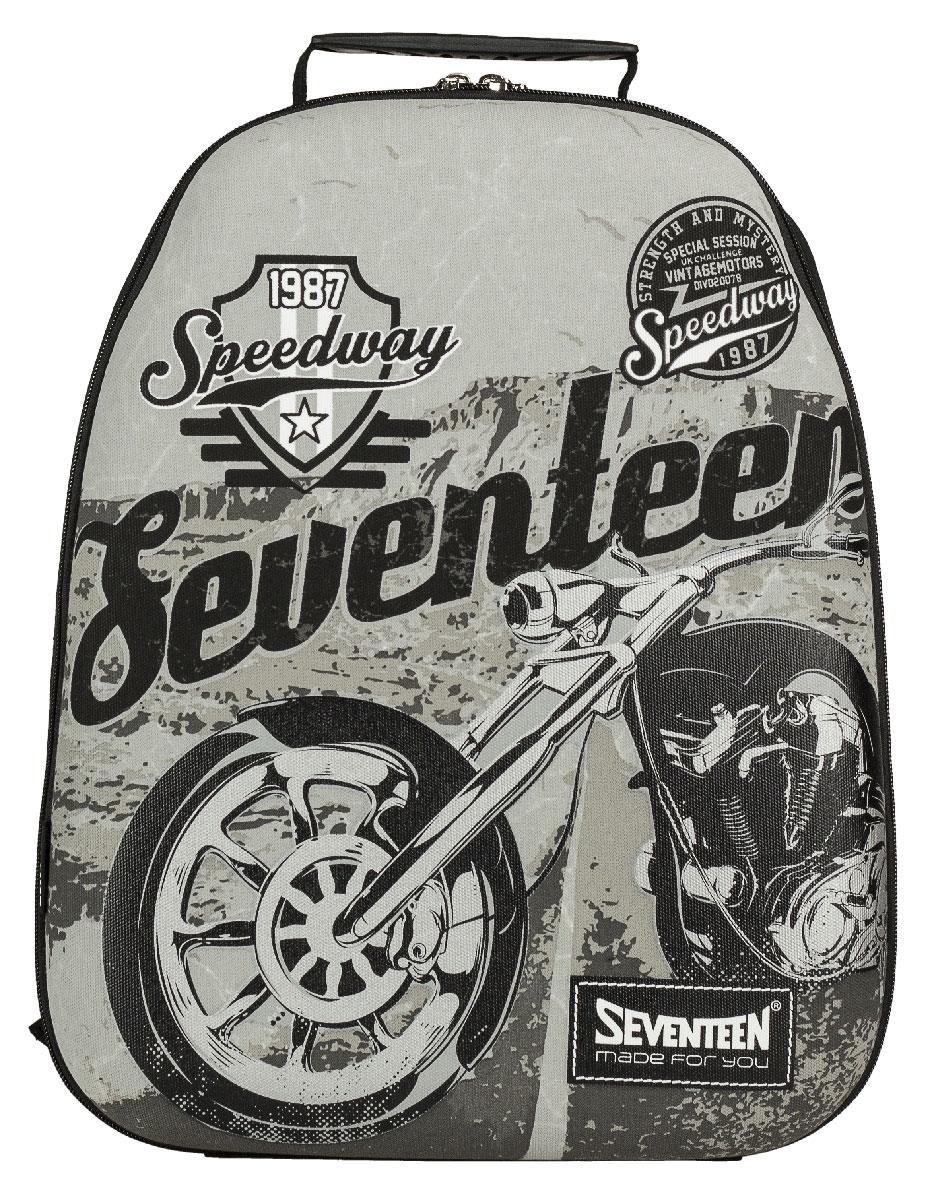 Рюкзак молодежный Seventeen, цвет: черный, серый. SVCB-RT6-E150SVCB-RT6-E150Стильный молодежный рюкзак Seventeen сочетает в себе современный дизайн, функциональность и долговечность. Выполнен из прочных материалов и оформлен изображением мотоцикла. Содержит изделие одно вместительное отделение на застежке-молнии с двумя бегунками. Внутри отделения находятся: открытый карман-сетка, карман-сетка на молнии, две мягкие перегородки и отделение для мобильного телефона. Фронтальная панель рюкзака выполнена из EVA, благодаря чему рюкзак не деформируется. Мягкие широкие лямки регулируются по длине. Рюкзак оснащен эргономичной ручкой для удобной переноски в руке. Этот рюкзак можно использовать для повседневных прогулок, отдыха и спорта, а также как элемент вашего имиджа. Рекомендуемый возраст: от 12 лет.