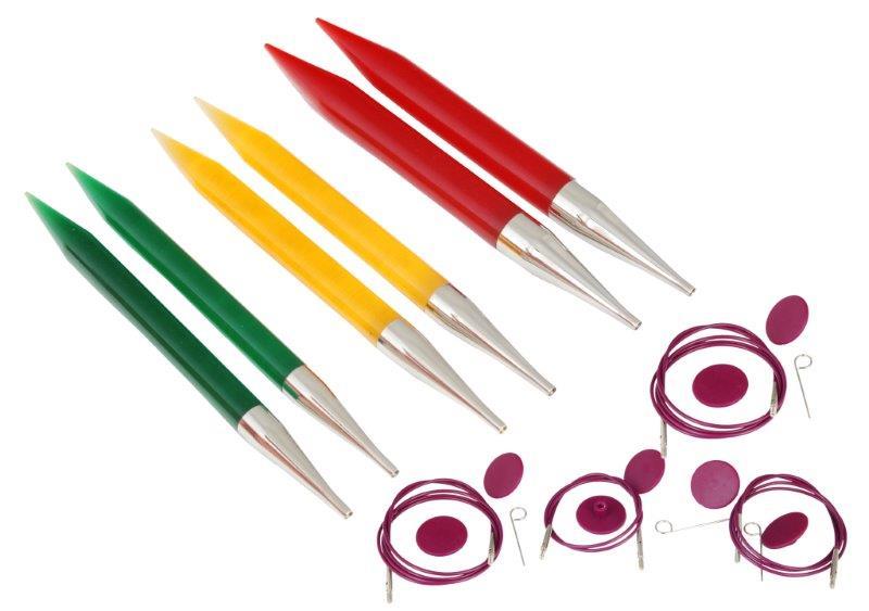 Набор съемных спиц KnitPro Chunky Set, 10 предметов50617Набор KnitPro Chunky Set состоит из 3 пар спиц разного диаметра, 3 тросиков разной длины, 3 пар заглушек с крючком и пластиковой сумки-чехла. Невероятно легкие спицы KnitPro изготовлены из акрила, что обеспечивает гладкую, атласную поверхность, которая позволяет петлям перемещаться свободно и быстро. Круговые спицы предназначены для выполнения деталей и изделий, не имеющих швов. Так как вес изделия лучше распределяется именно на таких спицах. Короткими круговыми спицами вяжут бейки горловины, воротники-гольф, длинными спицами можно вязать по кругу целые модели. Вы сможете вязать для себя и делать подарки друзьям. Рукоделие всегда считалось изысканным, благородным делом. Работа, сделанная своими руками, долго будет радовать вас и ваших близких. Диаметр спиц: 9 мм, 10 мм, 12 мм. Длина тросиков: 60 см, 80 см, 100 см. Диаметр заглушки: 2,3 см. Длина крючка: 3,5 см.