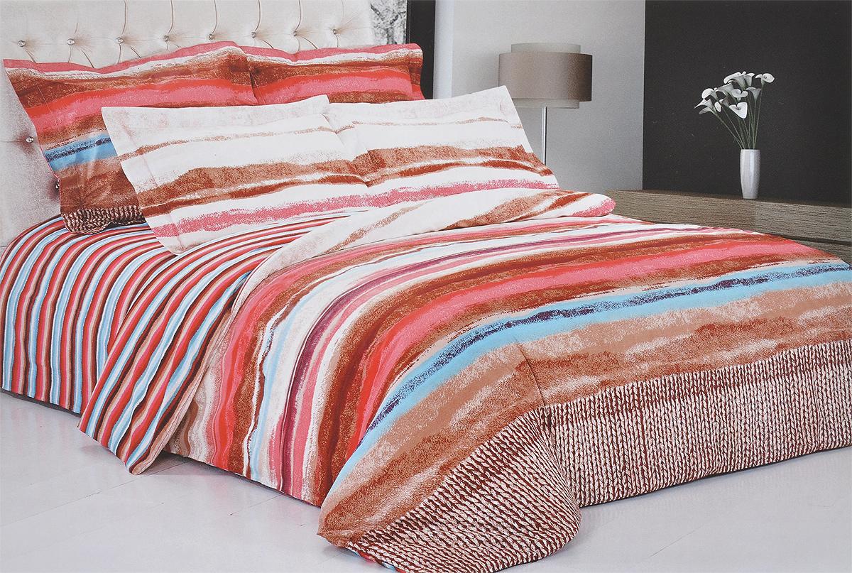 Комплект белья Soft Line, 1,5-спальный, наволочки 70х70. 0981709817Комплект белья Soft Line, выполненный из сатина (100% хлопок), состоит из пододеяльника, простыни и двух наволочек. Изделия оформлены ярким принтом в полоску. Постельное белье из сатина очень прочное и долговечное. Такой комплект выдержит многократное количество стирок, а яркие цвета не начнут тускнеть очень продолжительное время. Сатин практически не мнется, не электризуется, великолепно впитывает влагу и отлично вентилируется.