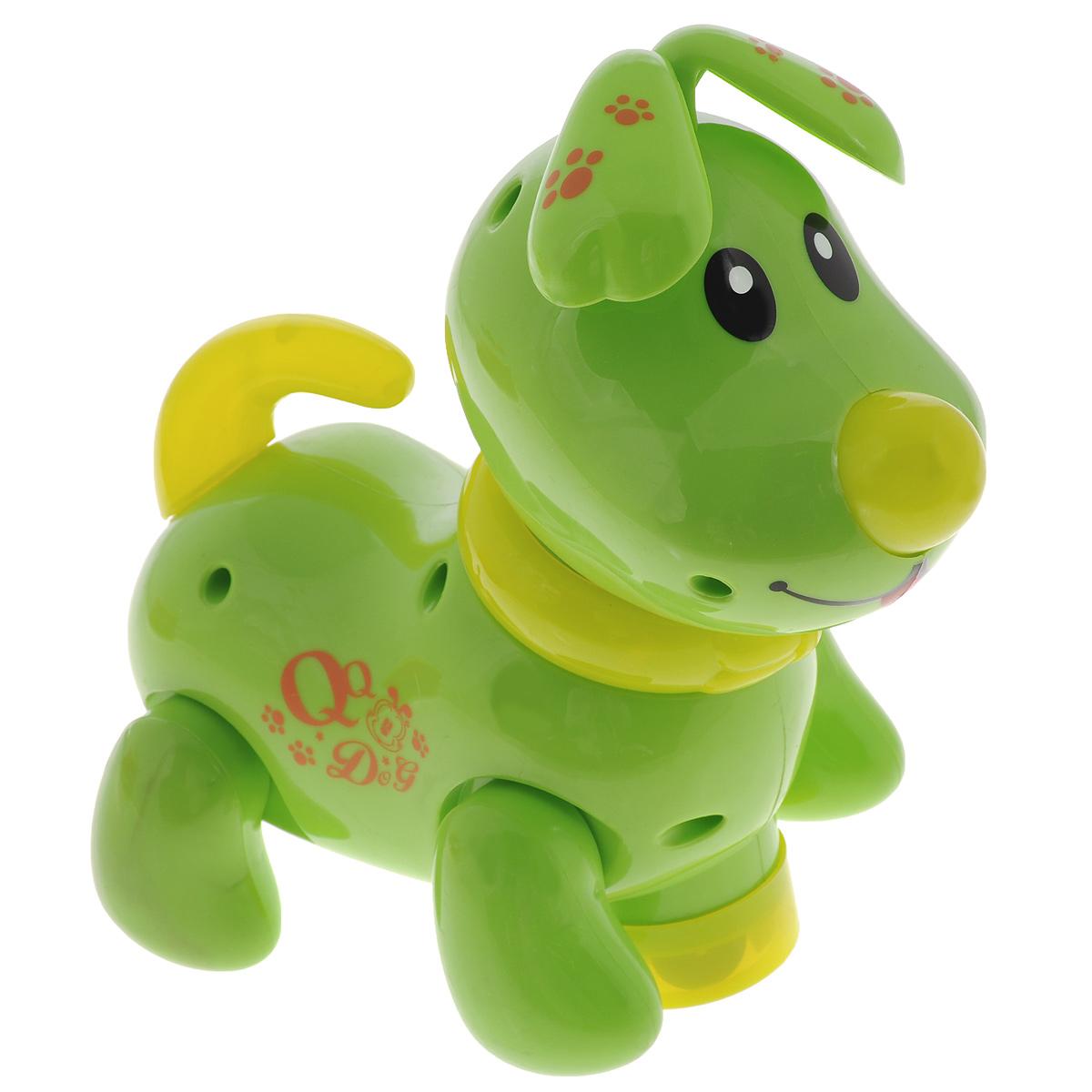 Интерактивная игрушка Mioshi Щенок РоккиMAC0303-006Интерактивная игрушка Mioshi Щенок Рокки обязательно поднимет настроение вашему малышу. Игрушка выполнена из прочного и безопасного материала в виде милого щенка. Щенок умеет так забавно вилять хвостиком и крутить головой в разные стороны. Благодаря встроенному датчику, при каждом движении песика активируются свето-звуковые эффекты: загораются ошейник и хвостик, а также звучит приятная для слуха мелодичная песенка. Игрушка стимулирует развитие зрительного, слухового и тактильного восприятия ребенка. Порадуйте своего ребенка такой забавной игрушкой. Необходимо купить 3 батарейки напряжением 1,5V типа АА (не входят в комплект).