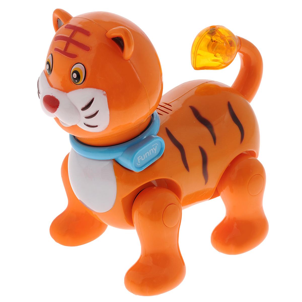 Интерактивная игрушка Mioshi ТигренокMAC0303-007Интерактивная игрушка Mioshi Тигренок обязательно привлечет внимание вашего малыша. Игрушка выполнена из прочного материала в виде милого тигренка. Тигренок умеет качать головой и забавно вилять хвостиком. Благодаря встроенному датчику, при каждом движении игрушки активируются свето-звуковые эффекты: загораются глазки и хвостик, а также звучит приятная для слуха мелодичная песенка. Игрушка стимулирует развитие зрительного, слухового и тактильного восприятия ребенка. Порадуйте своего ребенка такой забавной игрушкой. Необходимо купить 2 батарейки напряжением 1,5V типа АА (не входят в комплект).