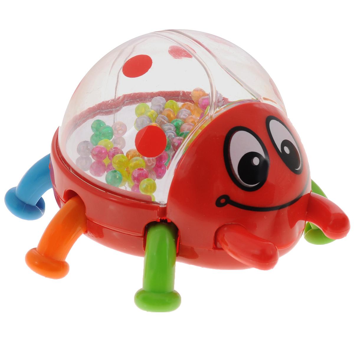 Развивающая игрушка-погремушка Mioshi Жук, цвет: красныйTY_9054Развивающая игрушка Mioshi Жук станет верным другом для вашего малыша. Она выполнена из безопасного пластика в виде забавной жука с шестью ножками. Внутри прозрачного тельца игрушки находятся безопасное зеркальце и разноцветные шарики, гремящие при тряске. Божья коровка умеет подпрыгивать: для этого нужно надавить на нее, чтобы лапки немного разошлись в стороны, и сразу отпустить. Развивающая игрушка Mioshi Жук поможет ребенку развить цветовое и слуховое восприятие, а также мелкую моторику рук.