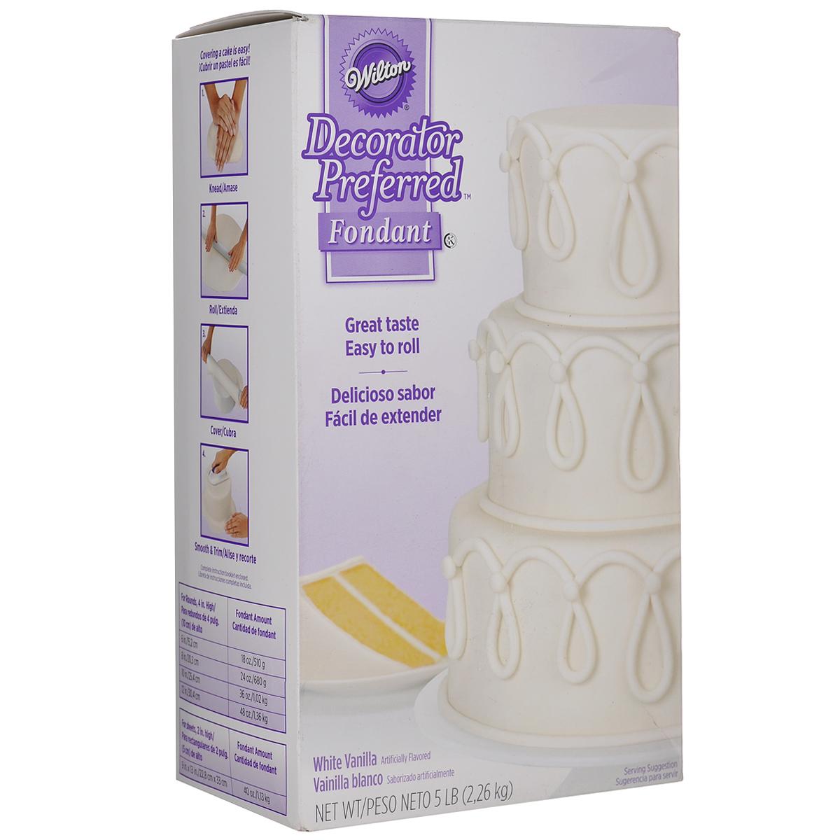 Декоративная мастика Wilton, цвет: белый, 2,3 кгWLT-710-2300Декоративная мастика Wilton позволит создать прекрасные украшения для тортов. Оптимальное соотношение вкуса, текстуры и функциональности: содержит экстракт ванили, кремовая эластичная структура, яркая цветовая гамма. С помощью мастики можно ровно покрыть торт, создавать 3D украшения, которые хорошо держат свою форму. Приятный аромат ванили понравится вашим гостям! С этой вкусной сахарной мастикой вы сможете легко создавать прекрасные украшения для тортов. Состав: сахар, пшеничный сироп, пальмовое масло, глицерин, трагакант, крахмал тапиоки, карбоксиметил целлюлоза натрия (краситель), ацетат натрия, уксусная кислота. Масса нетто: 2,3 кг. Пищевая ценность на 100 г: жиры - 6 г, белок - 0 г, углеводы - 80 г, в т.ч. сахар - 80 г, натрий - 0 мг. Энергетическая ценность: 372 Ккал. Товар сертифицирован.