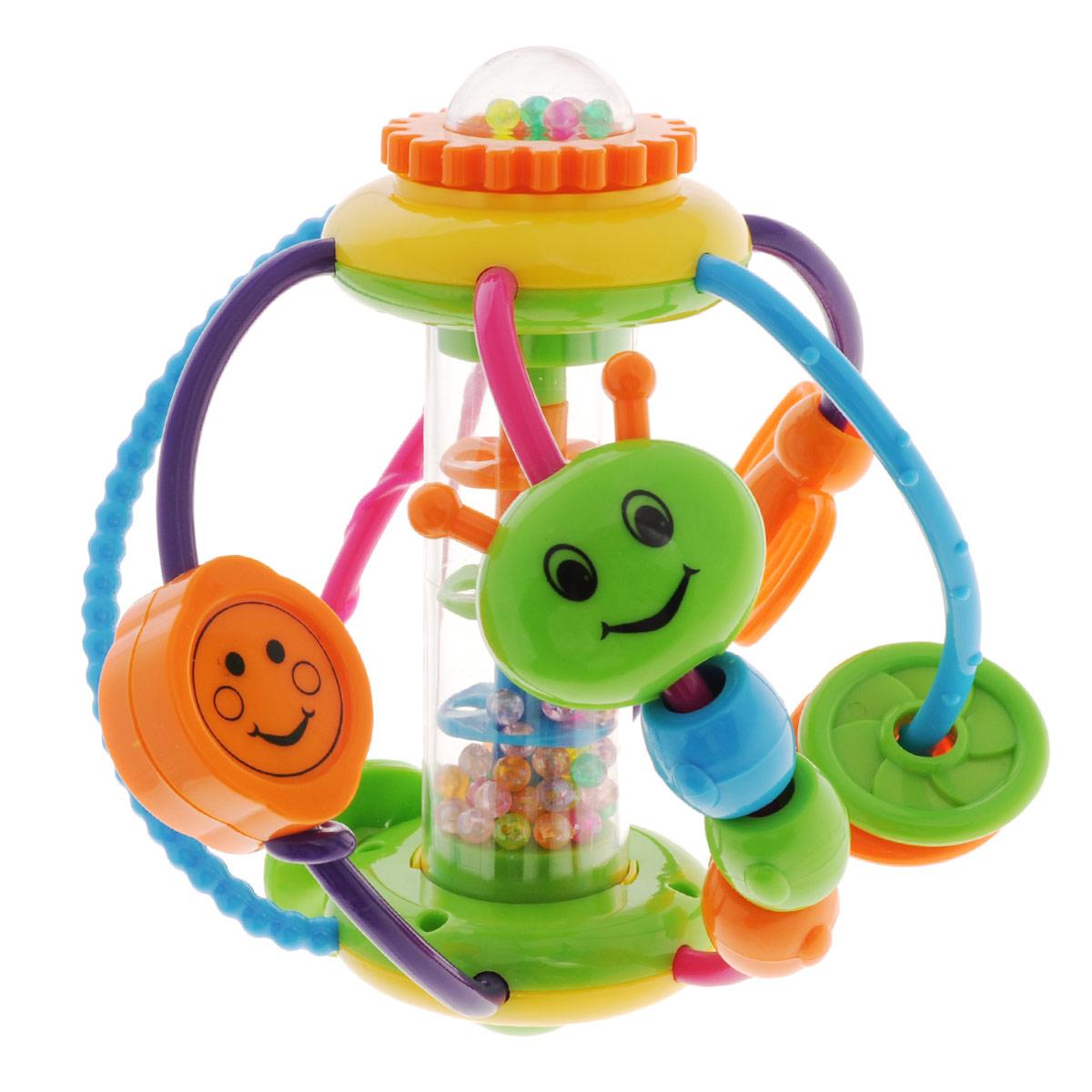 Погремушка-игровой центр Mioshi ГусеницаTY9065Забавная погремушка Mioshi Гусеница поможет вашему крохе научится фокусировать внимание, даст первые представления о категориях формы и цвета, поспособствует развитию слуха, зрения и мелкой моторики. С первых месяцев жизни малыш начинает интересоваться яркими, подвижными, звонкими предметами, ведь они являются его главными помощниками в изучении нашего удивительного мира. Улыбающаяся мордашка гусенички-погремушки и яркие по цвету, подвижные и звонкие игровые аксессуары развивающего центра вызывают у детишек неподдельный интерес и массу положительных эмоций. Красивую и приятную на ощупь игрушку детишкам можно не только держать в ручках, но и просто катать по полу, как мячик, а затем ползти за ней. Игрушка изготовлена из современных и гипоаллергенных материалов.