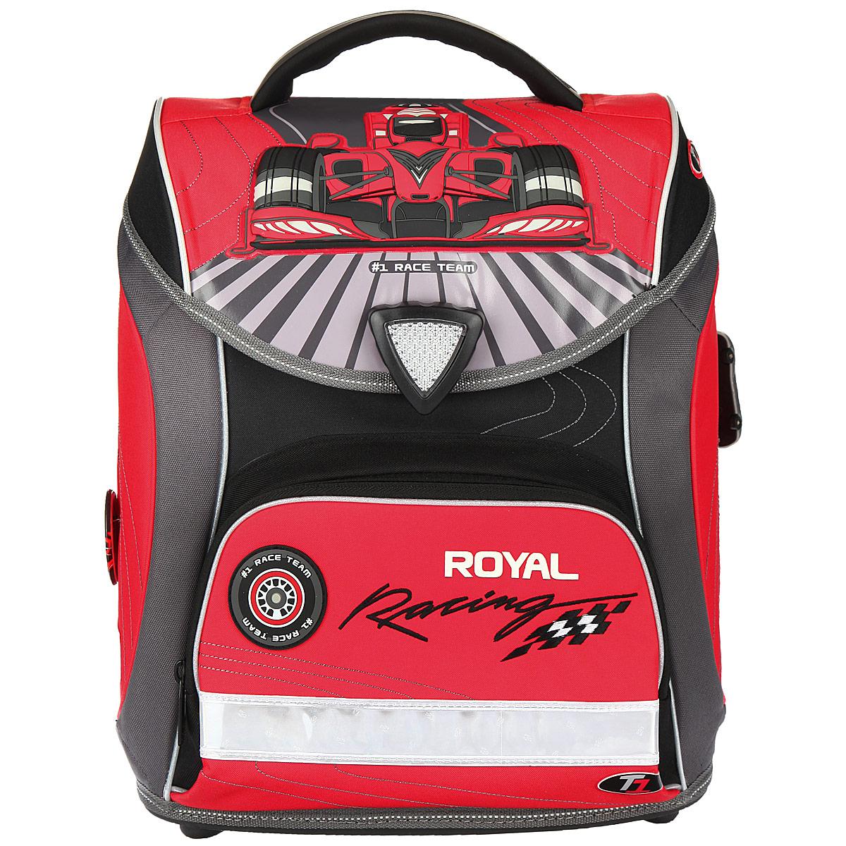 Ранец школьный Hummingbird Royal Racing, цвет: серый, красный, черный. H6H6Эргономичный школьный ранец с жесткой конструкцией Hummingbird Royal Racing выполнен из современного пористого EVA материала, отличающегося легкостью и долговечностью. Изделие оформлено изображением робота и дополнительно оформлено брелоком в форме машинки. Ранец имеет одно основное отделение, закрывающееся на магнитный замок-вертушку. Внутри главного отделения расположены: нашитый карман на молнии, два накладных кармана-разделителя с жесткими стенками. На лицевой стороне ранца расположен накладной карман на молнии. По бокам рюкзака расположены два вшитых кармана на молниях. Спинка ранца Ergo System со специальной дышащей системой дарит комфорт и способствует улучшению осанки ребенка. Ранец оснащен эргономичной ручкой для переноски, двумя широкими лямками, регулируемой длины, и петлей для подвешивания. Дно изготовлено из прочного пластика. Многофункциональный школьный ранец Hummingbird Royal Racing станет незаменимым спутником вашего ребенка в походах за...