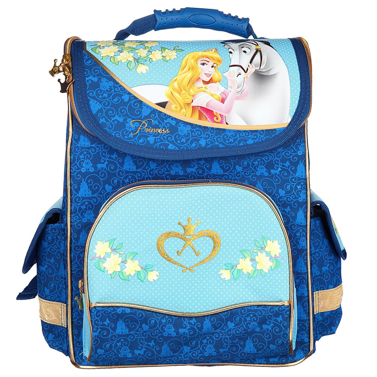 Ранец школьный Disney Princess Волшебные лошади, цвет: синий, голубой22564Ранец школьный Disney Princess Волшебные лошади обязательно привлечет внимание вашей школьницы. Ранец выполнен из водонепроницаемого и износоустойчивого материала синего и голубого цветов и оформлен изображением принцессы и милой лошадки. Содержит одно вместительное отделение, закрывающееся на застежку-молнию с двумя бегунками. Бегунки застежки дополнены металлическими держателями в виде короны. Внутри отделения имеются две мягкие перегородки для тетрадей или учебников, фиксирующиеся резинкой. Также имеется прорезной карман на молнии. По бокам находятся два вертикальных отделения на липучках. Под крышкой ранца находится прозрачный пластиковый кармашек, который можно использовать для данных о владельце. Ранец имеет два боковых накладных кармана на липучках. Лицевая сторона ранца оснащена накладным карманом на застежке-молнии. Полужесткий каркас позволяет ранцу не деформироваться. Конструкция спинки дополнена эргономичными подушечками, противоскользящей...