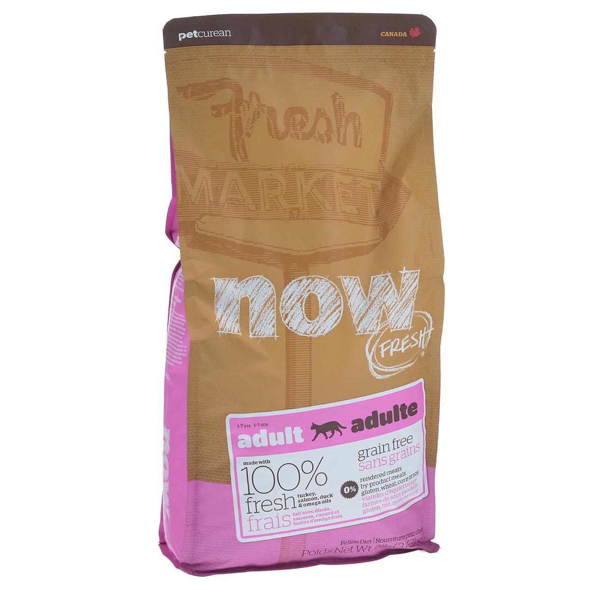 Корм сухой Now Fresh для взрослых кошек, беззерновой, с индейкой, уткой и овощами, 3,63 кг20043Now Fresh - полностью сбалансированный холистик корм из свежего филе индейки и утки, выращенных на канадских фермах. Рекомендован для взрослых кошек. При производстве кормов используется только свежее мясо индейки, утки, лосося, кокосовое и рапсовое масло. Это первый беззерновой корм со сбалансированным содержание белков и жиров. Ключевые преимущества: - полностью беззерновой, - не содержит субпродуктов, красителей, говядины, мясных ингредиентов, выращенных на гормонах, - оптимальное соотношение белков и жиров помогает кошек оставаться здоровым и сохранять отличную форму, - докозагексаеновая кислота (DHA) и эйкозапентаеновая кислота (EPA) необходима для нормальной деятельности мозга и здорового зрения, - пробиотики и пребиотики обеспечивают здоровое пищеварение, - таурин необходим для здоровья глаз и нормального функционирования сердечной мышцы, - омега-масла в составе необходимы для здоровой кожи и шерсти, -...