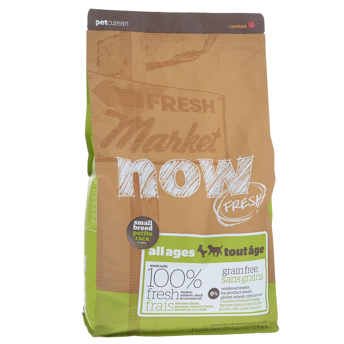Корм сухой Now Fresh для малых пород собак всех возрастов, беззерновой, с индейкой, уткой и овощами, 2,72 кг10117Now Fresh - полностью сбалансированный холистик корм из свежего филе индейки и утки, выращенных на канадских фермах. Рекомендован для малых пород всех возрастов: для щенков, для взрослых и для активных собак, и для пожилых собак. Это первый беззерновой корм со сбалансированным содержание белков и жиров. Ключевые преимущества: - не содержит субпродуктов, красителей, говядины, мясных ингредиентов, выращенных на гормонах, - гранулы благодаря своей форме бережно очищают зубы, люцерна в составе корма освежает дыхание, - пробиотики и пребиотики обеспечивают здоровое пищеварение, - маленький размер гранул способствует лучшему захвату корма, - докозагексаеновая кислота (DHA) и эйкозапентаеновая кислота (EPA) необходима для нормальной деятельности мозга и здорового зрения, - омега-масла в составе необходимы для здоровой кожи и шерсти, - антиоксиданты укрепляют иммунную систему. Состав: филе индейки, картофель, свежие...