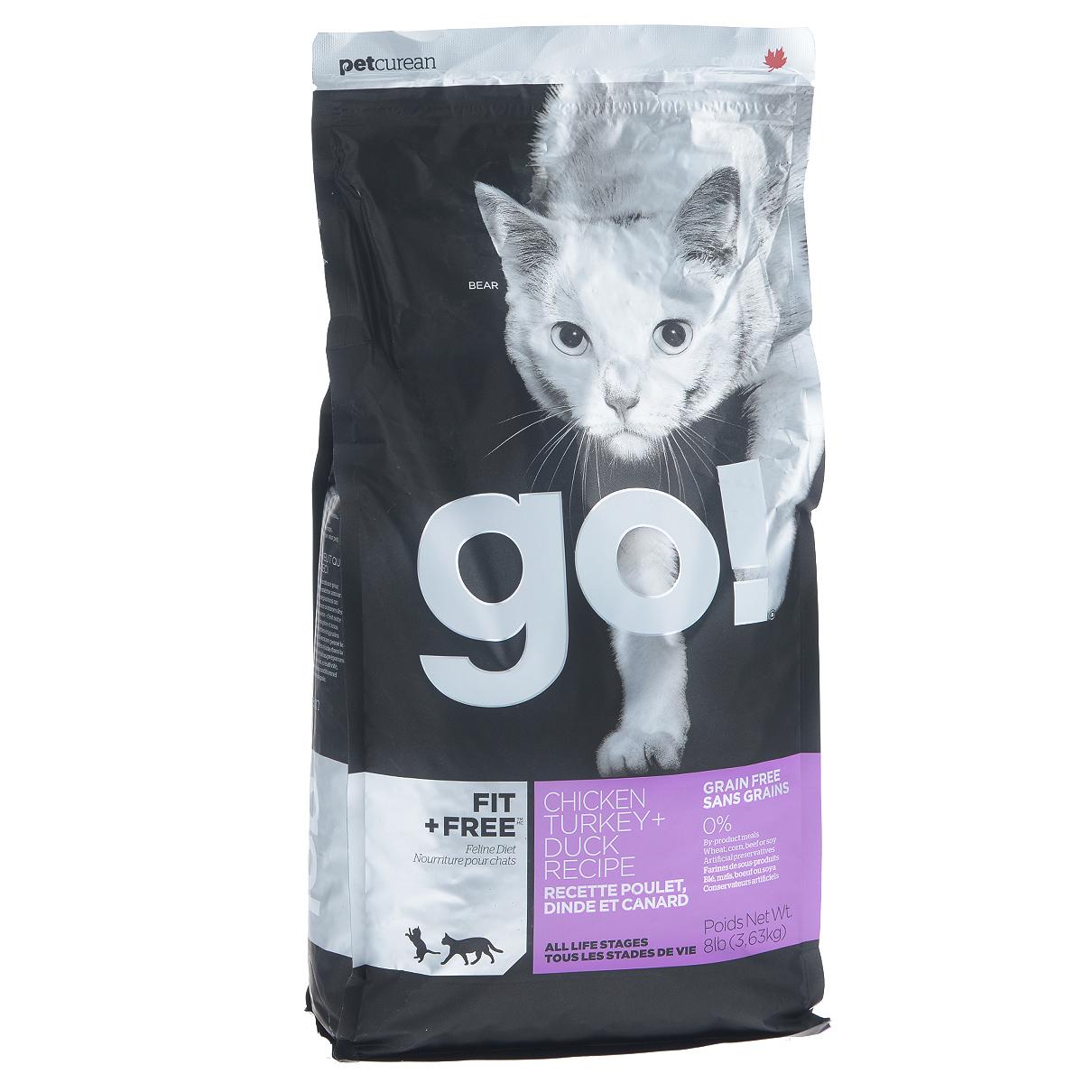 Корм сухой Go! для кошек и котят, беззерновой, с курицей, индейкой, уткой и лососем, 3,63 кг20032Беззерновой сухой корм Go! для котят и кошек - это корм со сбалансированным содержание белков и жиров. Ключевые преимущества: - Полностью беззерновой, - Небольшое количество углеводов гарантирует поддержание оптимального веса кошки, - Пробиотики и пребиотики обеспечивают здоровое пищеварение, - Не содержит субпродуктов, красителей, говядины, мясных ингредиентов, выращенных на гормонах, - Таурин необходим для здоровья глаз и нормального функционирования сердечной мышцы, - Докозагексаеновая кислота (DHA) и эйкозапентаеновая кислота (EPA) необходима для нормальной деятельности мозга и здорового зрения, - Омега-масла в составе необходимы для здоровой кожи и шерсти, - Антиоксиданты укрепляют иммунную систему. Состав: свежее мясо курицы, филе курицы, филе индейки, утиное филе, свежее мясо индейки, свежее мясо лосося, филе форели, куриный жир (источник витамина Е), натуральный рыбный ароматизатор, горошек,...