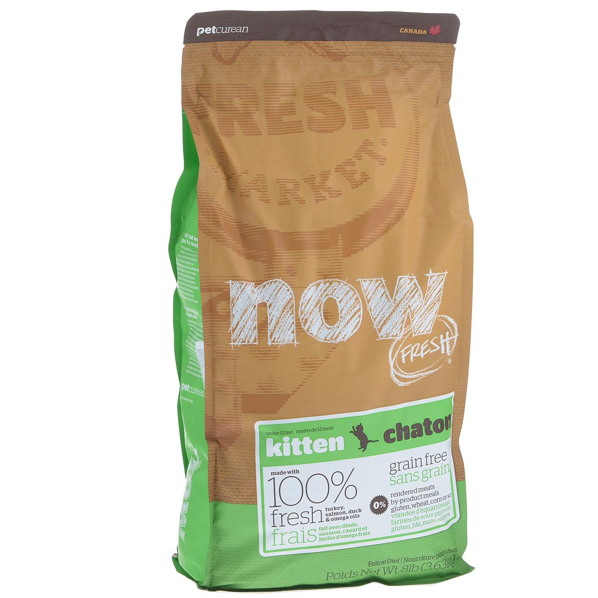 Корм сухой Now Fresh для котят, беззерновой, с индейкой, уткой и овощами, 3,63 кг20040Now Fresh - полностью сбалансированный холистик корм для котят с 5 недели до 1 года из свежего филе индейки, лосося и утки, выращенных на канадских фермах.Также корм подходит беременным и кормящим кошкам. При производстве кормов используется только свежее мясо индейки, утки, лосося, кокосовое и рапсовое масло. Ключевые преимущества: - полностью беззерновой, - не содержит субпродуктов, красителей, говядины, мясных ингредиентов, выращенных на гормонах, - наличие всех питательных компонентов для правильного развития костей и суставов, - оптимальное соотношение белков и жиров помогает кошек оставаться здоровым и сохранять отличную форму, - докозагексаеновая кислота (DHA) и эйкозапентаеновая кислота (EPA) необходима для нормальной деятельности мозга и здорового зрения, - пробиотики и пребиотики обеспечивают здоровое пищеварение, - таурин необходим для здоровья глаз и нормального функционирования сердечной мышцы, -...