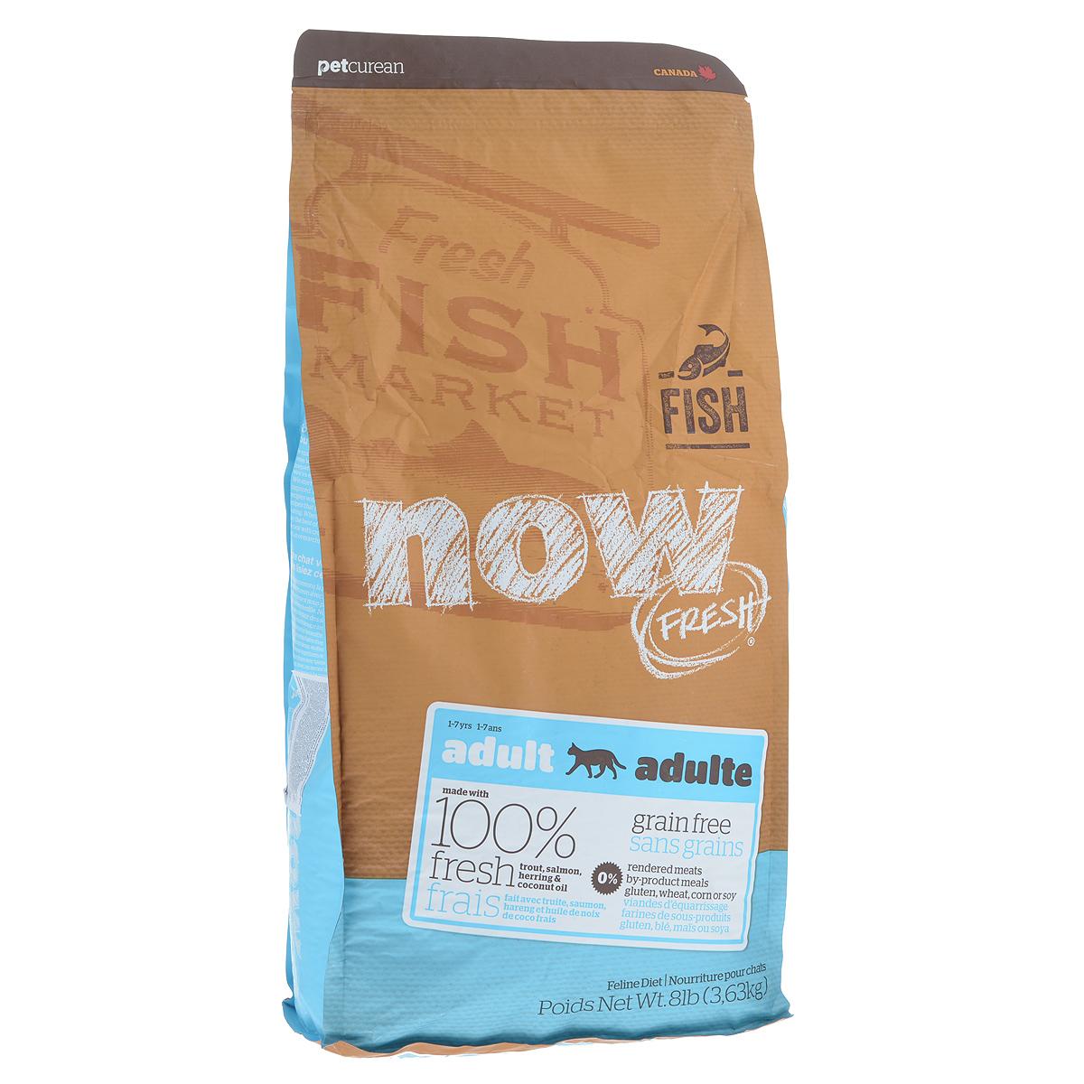 Корм сухой Now Fresh для взрослых кошек с чувствительным пищеварением, беззерновой, с форелью и лососем, 3,63 кг19236Сухой корм Now Fresh для взрослых кошек изготовлен из 100% свежей форели, лосося, сельди, насыщен Омега 3 и 6, а так же маслами кокосового ореха и рапса. Идеально подходит для кошек с чувствительным пищеварением. Не содержит злаков, крахмала, пшеницы, говядины, кукурузы и сои. Состав: филе форели, филе лосося, филе сельди, горошек, картофель, горох волокна, целые сушеные яйца, помидоры, масло канолы (консервированный смесью токоферолов), льняное семя, натуральный ароматизатор, кокосовое масло (консервированный смесью токоферолов), утка, яблоки, морковь, тыква, бананы, черника, клюква, малина, ежевика, папайя, ананас, грейпфрут, чечевица бобы, брокколи, шпинат, творог, ростки люцерны, люцерна, карбонат кальция, фосфорная кислота, хлорид натрия, лецитин, хлорид калия, DL-метионин, таурин, витамины (витамин Е, L-аскорбил-2-полифосфатов (источник витамина С), ниацин, инозитол, витамин А, тиамин мононитрат, пантотенат d-кальция, пиридоксина гидрохлорид,...