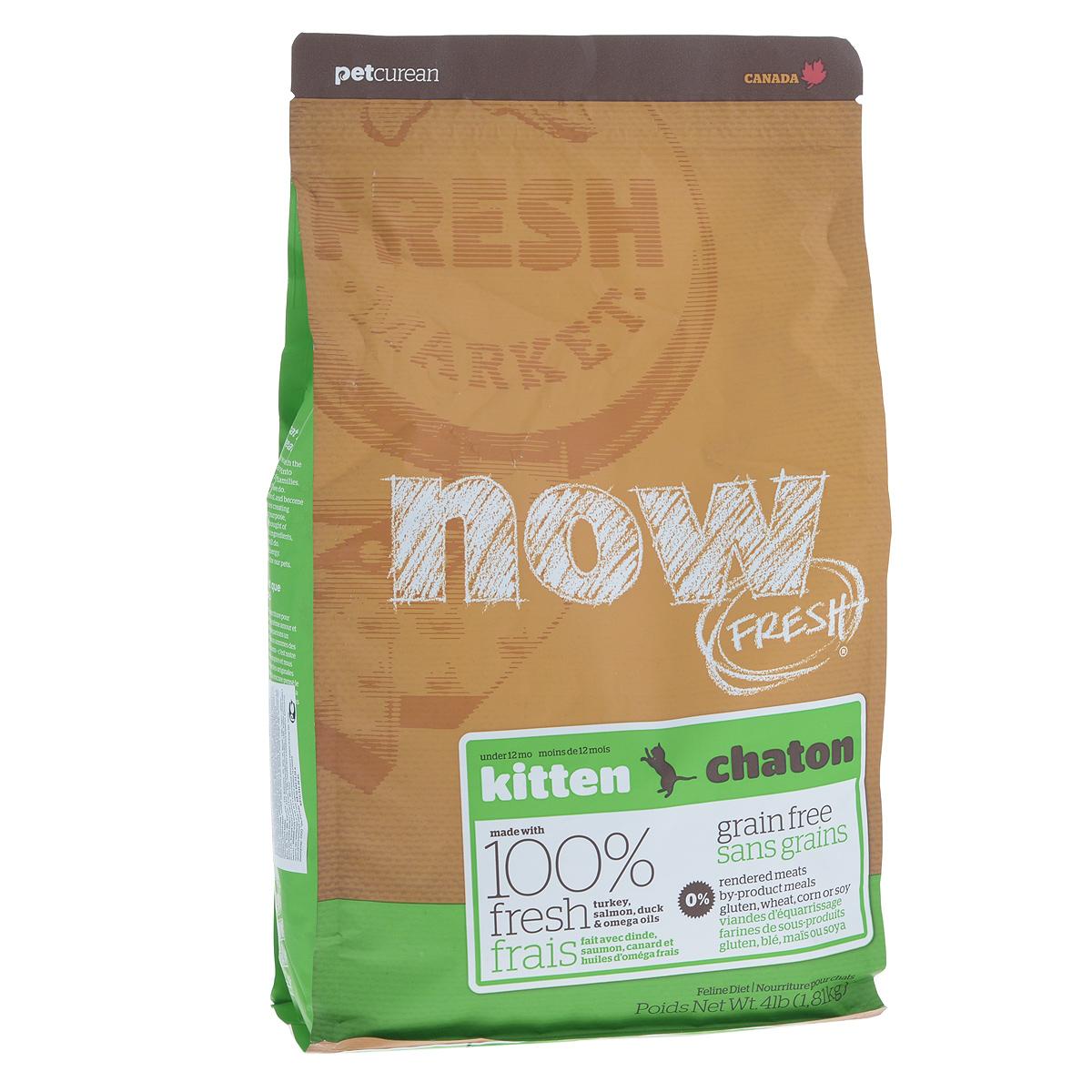 Корм сухой Now Fresh для котят, беззерновой, с индейкой, уткой и овощами, 1,81 кг20039Now Fresh - полностью сбалансированный холистик корм для котят с 5 недели до 1 года из свежего филе индейки, лосося и утки, выращенных на канадских фермах.Также корм подходит беременным и кормящим кошкам. При производстве кормов используется только свежее мясо индейки, утки, лосося, кокосовое и рапсовое масло. Ключевые преимущества: - полностью беззерновой, - не содержит субпродуктов, красителей, говядины, мясных ингредиентов, выращенных на гормонах, - наличие всех питательных компонентов для правильного развития костей и суставов, - оптимальное соотношение белков и жиров помогает кошек оставаться здоровым и сохранять отличную форму, - докозагексаеновая кислота (DHA) и эйкозапентаеновая кислота (EPA) необходима для нормальной деятельности мозга и здорового зрения, - пробиотики и пребиотики обеспечивают здоровое пищеварение, - таурин необходим для здоровья глаз и нормального функционирования сердечной мышцы, -...