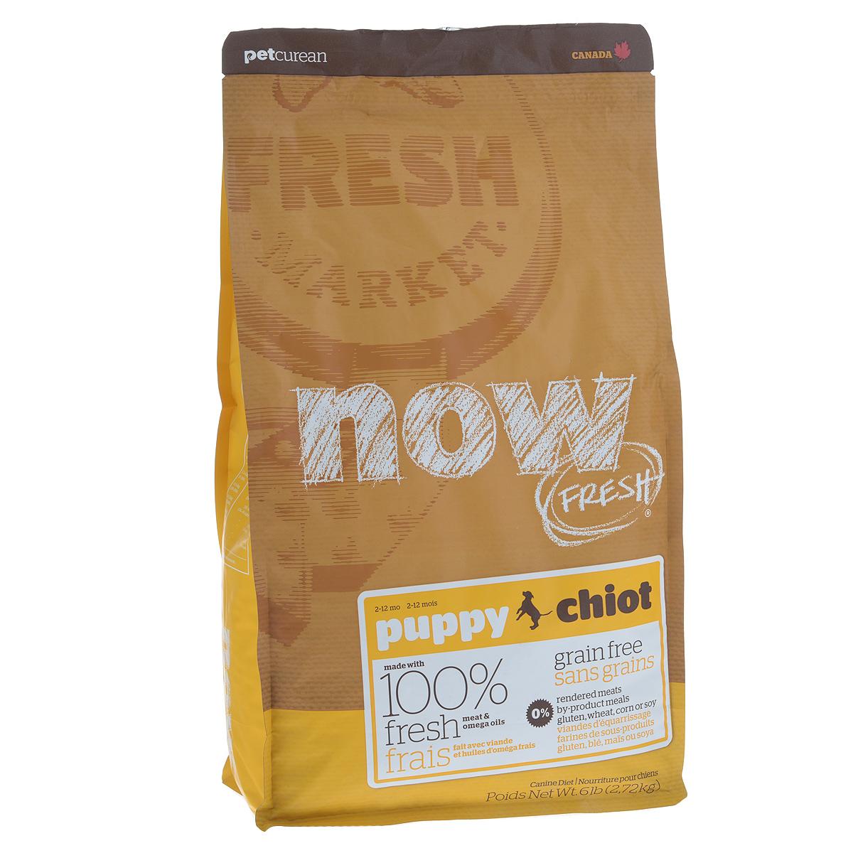 Корм сухой Now Fresh для щенков, беззерновой, с индейкой, уткой и овощами, 2,72 кг10109Now Fresh - полностью сбалансированный холистик корм для щенков всех пород из филе индейки, утки и лосося. Это первый беззерновой корм со сбалансированным содержание белков и жиров. Ключевые преимущества: - не содержит субпродуктов, красителей, говядины, мясных ингредиентов, выращенных на гормонах, - омега-масла в составе необходимы для здоровой кожи и шерсти, - пробиотики и пребиотики обеспечивают здоровое пищеварение, - антиоксиданты укрепляют иммунную систему. Состав: филе индейки, картофель, горох, свежие цельные яйца, томаты, масло канолы (источник витамина Е), семена льна, натуральный ароматизатор, филе лосося, утиное филе, кокосовое масло (источник витамина Е), яблоки, морковь, тыква, бананы, черника, клюква, малина, ежевика, папайя, ананас, грейпфрут, чечевица, брокколи, шпинат, творог, ростки люцерны, дикальций фосфат, люцерна, карбонат кальция, фосфорная кислота, натрия хлорид, лецитин, хлорид калия, DL-метионин,...