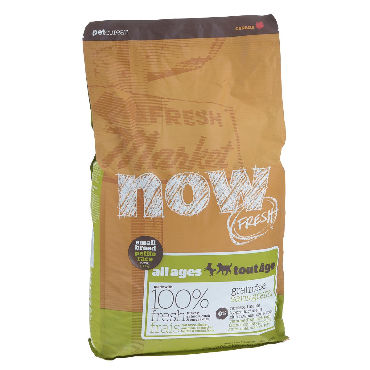 Корм сухой Now Fresh для малых пород собак всех возрастов, беззерновой, с индейкой, уткой и овощами, 5,44 кг10118Now Fresh - полностью сбалансированный холистик корм из свежего филе индейки и утки, выращенных на канадских фермах. Рекомендован для малых пород всех возрастов: для щенков, для взрослых и для активных собак, и для пожилых собак. Это первый беззерновой корм со сбалансированным содержание белков и жиров. Ключевые преимущества: - не содержит субпродуктов, красителей, говядины, мясных ингредиентов, выращенных на гормонах, - гранулы благодаря своей форме бережно очищают зубы, люцерна в составе корма освежает дыхание, - пробиотики и пребиотики обеспечивают здоровое пищеварение, - маленький размер гранул способствует лучшему захвату корма, - докозагексаеновая кислота (DHA) и эйкозапентаеновая кислота (EPA) необходима для нормальной деятельности мозга и здорового зрения, - омега-масла в составе необходимы для здоровой кожи и шерсти, - антиоксиданты укрепляют иммунную систему. Состав: филе индейки, картофель, свежие...
