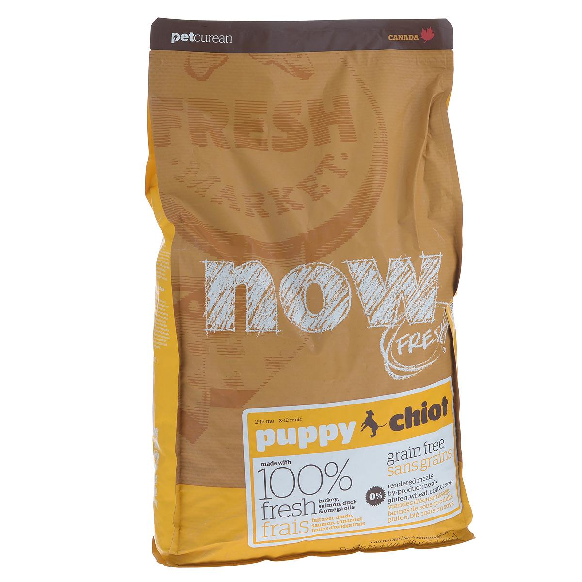 Корм сухой Now Fresh для щенков, беззерновой, с индейкой, уткой и овощами, 5,44 кг10110Now Fresh - полностью сбалансированный холистик корм для щенков всех пород из филе индейки, утки и лосося. Это первый беззерновой корм со сбалансированным содержание белков и жиров. Ключевые преимущества: - не содержит субпродуктов, красителей, говядины, мясных ингредиентов, выращенных на гормонах, - омега-масла в составе необходимы для здоровой кожи и шерсти, - пробиотики и пребиотики обеспечивают здоровое пищеварение, - антиоксиданты укрепляют иммунную систему. Состав: филе индейки, картофель, горох, свежие цельные яйца, томаты, масло канолы (источник витамина Е), семена льна, натуральный ароматизатор, филе лосося, утиное филе, кокосовое масло (источник витамина Е), яблоки, морковь, тыква, бананы, черника, клюква, малина, ежевика, папайя, ананас, грейпфрут, чечевица, брокколи, шпинат, творог, ростки люцерны, дикальций фосфат, люцерна, карбонат кальция, фосфорная кислота, натрия хлорид, лецитин, хлорид калия, DL-метионин,...