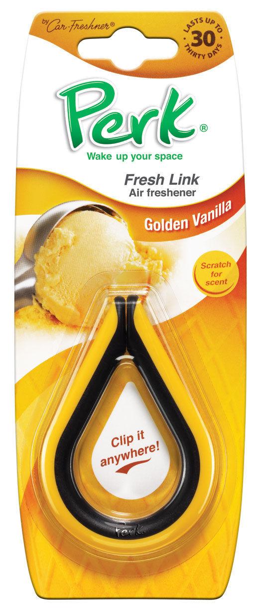Ароматизатор-клипса Perk Золотая ваниль (Golden Vanilla)CTK-52004-24Ароматизатор-клипса Perk Абсолют предназначен для придания вашему автомобилю, дому или даче - неповторимого стойкого и изысканного аромата. Ароматизатор представляет собой клипсу. Клипса, наполненную парфюмерной композицией, можно подвесить в любом удобном для вас месте. Характеристики: Состав: полимеры, не токсичные отдушки Размер клипсы: 8 см х 6 см х 1 см. Размер упаковки: 19 см х 7,5 см х 1 см.