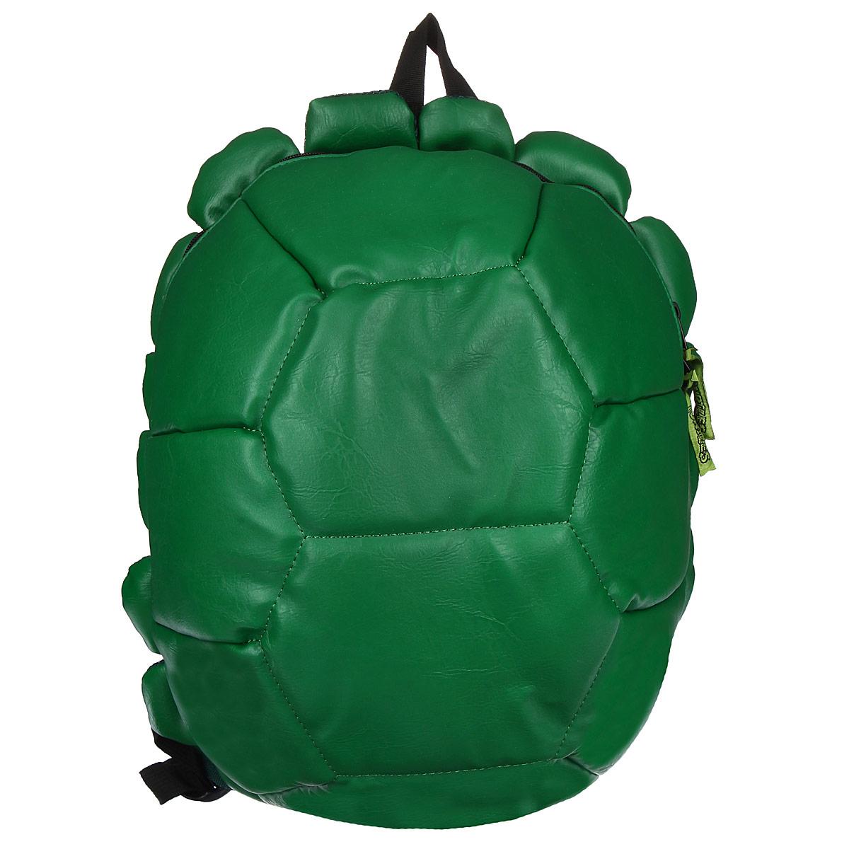 Рюкзак детский Teenage Mutant Ninja Turtles Черепашки Ниндзя, цвет: зеленый93451Рюкзак детский Teenage Mutant Ninja Turtles Черепашки Ниндзя непременно привлечет внимание вашего ребенка. Выполнен рюкзак из прочных материалов, зеленого цвета в виде панциря черепашки. В комплекте к рюкзаку прилагаются 4 повязки для глаз, чтобы быть похожими на героев мультфильма. Содержит одно вместительное отделение, закрывающееся на застежку-молнию с двумя бегунками. Внутри отделения находятся: три открытых кармана, три отделения для пишущих принадлежностей и кармашек на липучке для мобильного телефона. Конструкция спинки дополнена противоскользящей сеточкой и системой вентиляции для предотвращения запотевания спины ребенка. Широкие лямки позволяют легко и быстро отрегулировать рюкзак в соответствии с ростом. Рюкзак оснащен текстильной ручкой для переноски в руке. Ребенку обязательно понравится этот стильный аксессуар, который станет для него постоянным спутником. Рекомендуемый возраст: от 8 лет.