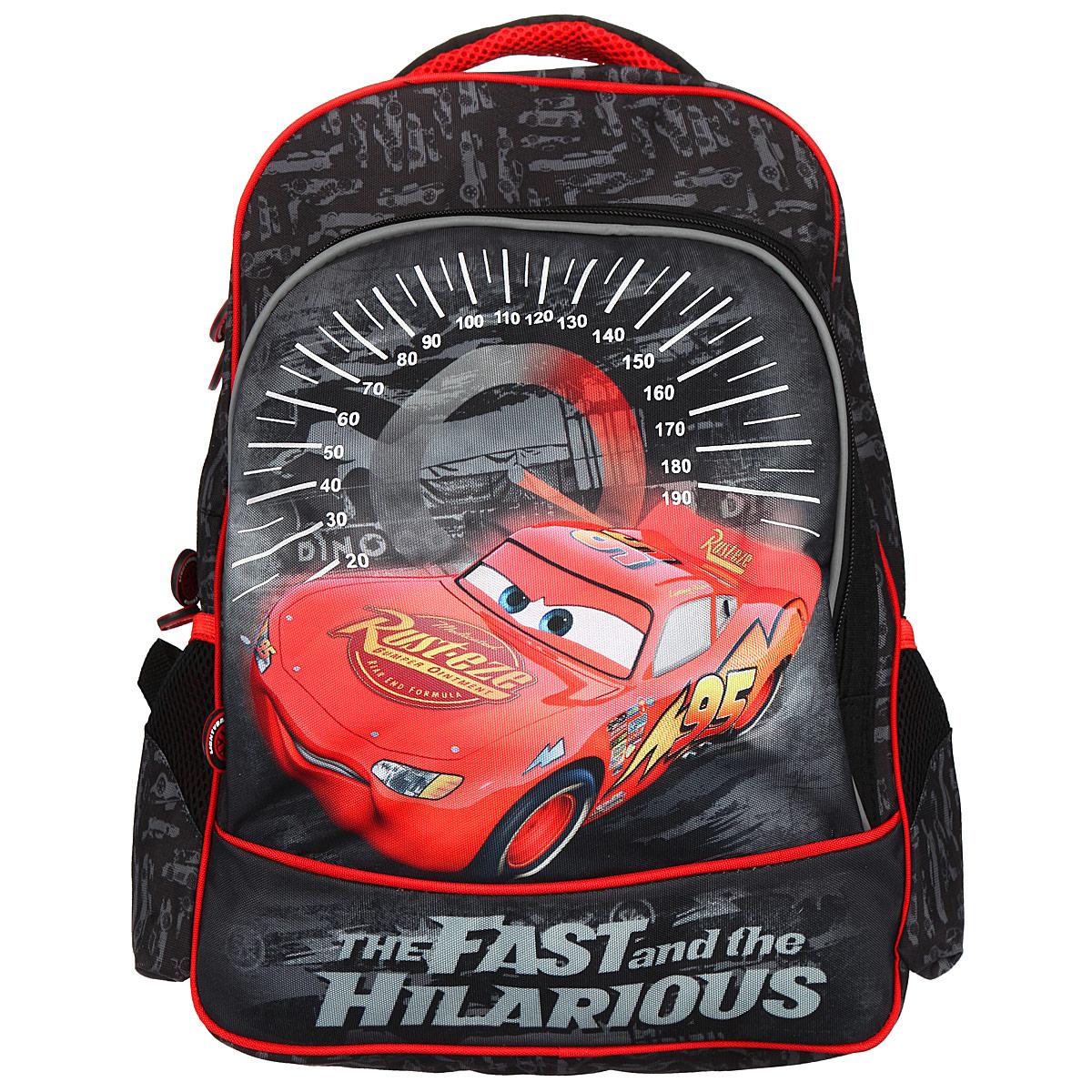 Рюкзак школьный Cars, цвет: черный, серый, красный. 2558325583Рюкзак школьный Cars обязательно привлечет внимание вашего школьника. Он выполнен из прочного и водонепроницаемого материла черного, серого, красного цветов и оформлен изображением героя мультфильма Тачки. Содержит два вместительных отделения, закрывающиеся на застежки-молнии с двумя бегунками. Бегунки застежки дополнены прорезиненными держателями. В большом отделении находятся две мягкие перегородки для тетрадей или учебников, фиксирующиеся резинкой. Одну из перегородок можно использовать для гаджетов. В другом отделении имеется открытый карман-сетка. Лицевая сторона рюкзака оснащена накладным карманом на застежке-молнии, внутри которого расположены два открытых кармашка, карман-сетка на молнии и отделение для мобильного телефона. По бокам рюкзака расположены два накладных кармана, стянутые сверху резинкой. Ортопедическая спинка равномерно распределяет нагрузку на плечевые суставы и спину. Конструкция спинки дополнена эргономичными подушечками,...